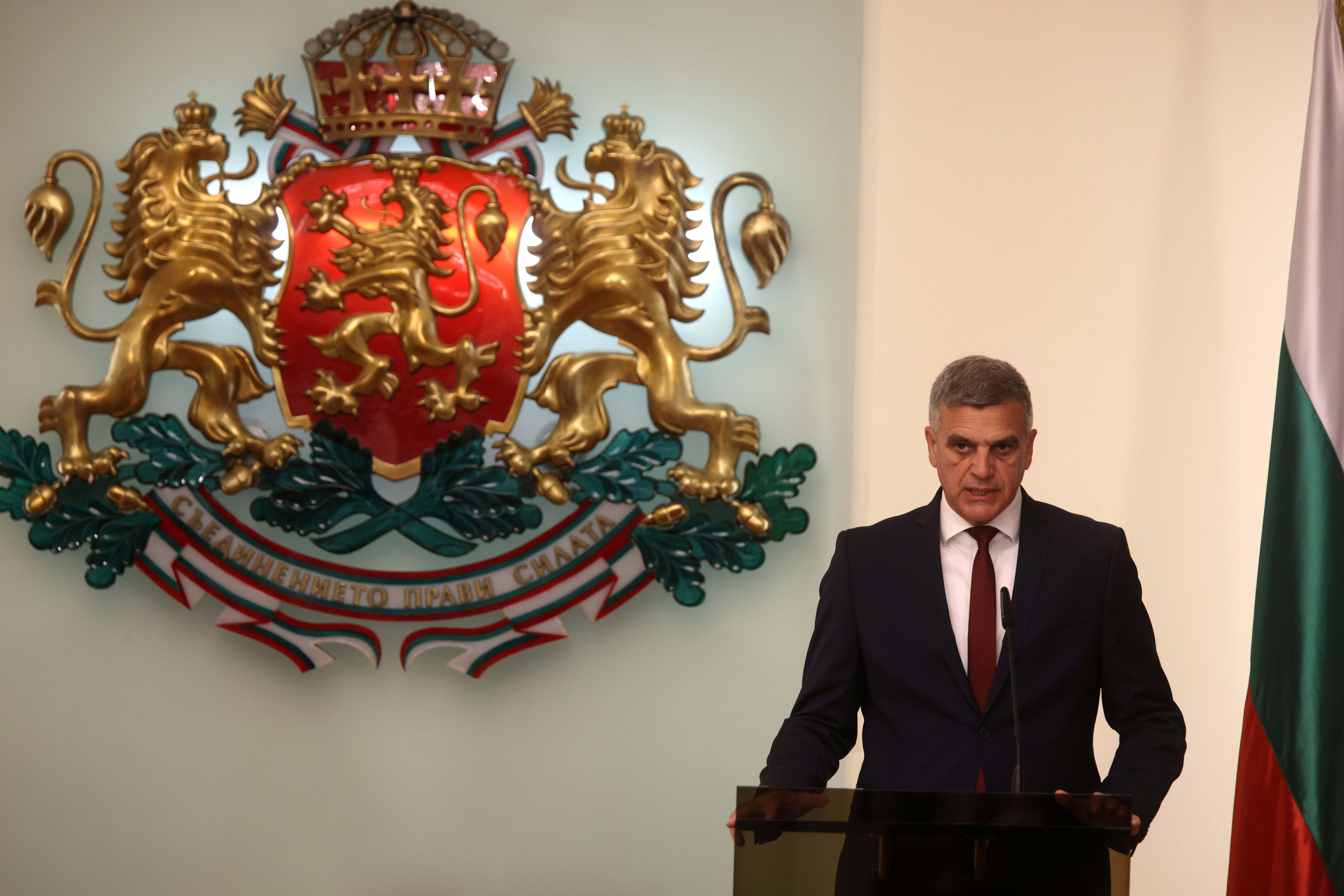 Newly appointed caretaker Prime Minister Stefan Yanev delivers his speech during an official ceremony in Sofia, Bulgaria, May 12, 2021. REUTERS/Stoyan Nenov