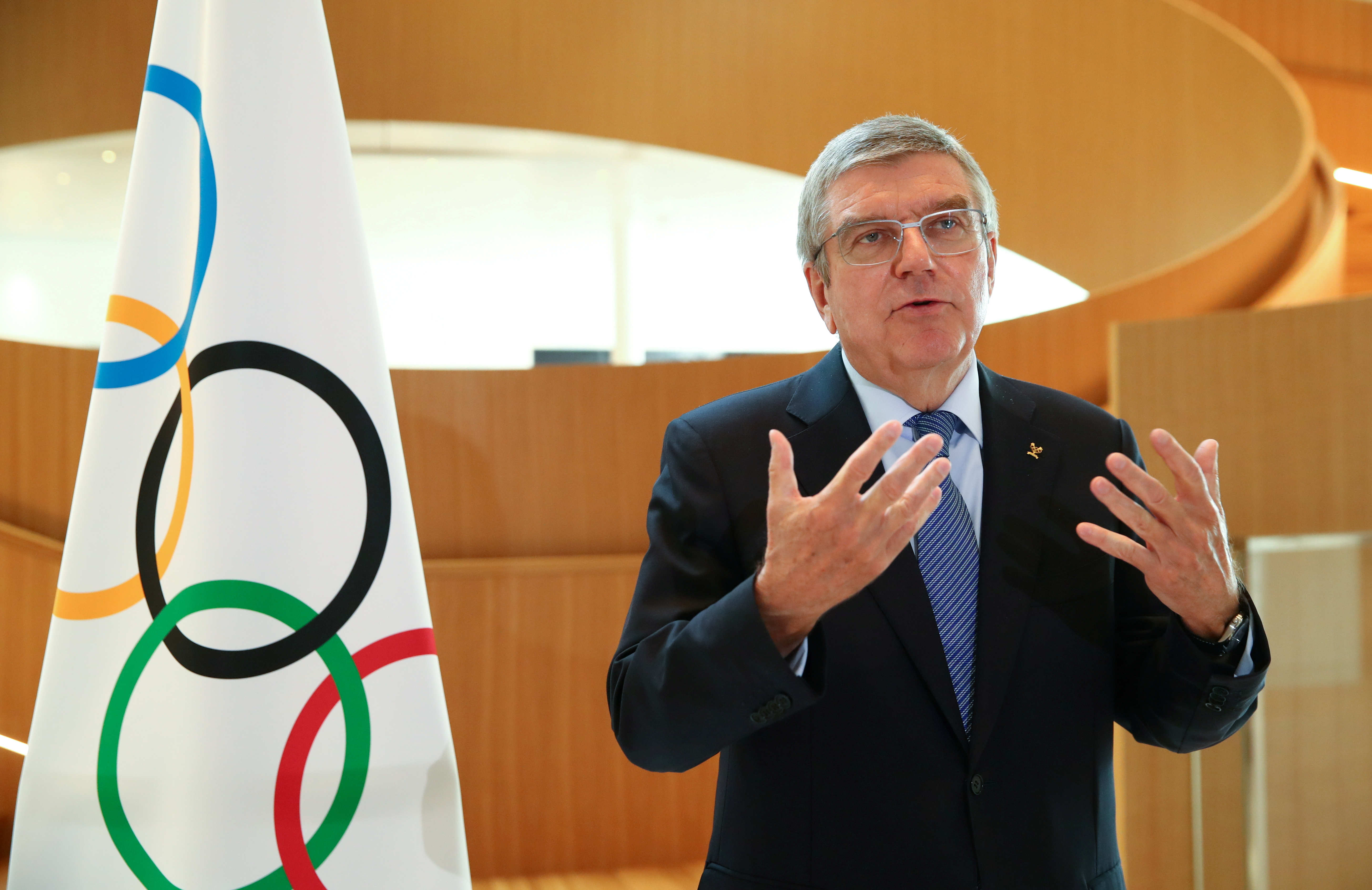 Thomas Bach, President of the International Olympic Committee (IOC) attends an interview in Lausanne, Switzerland, March 25, 2020. REUTERS/Denis Balibouse