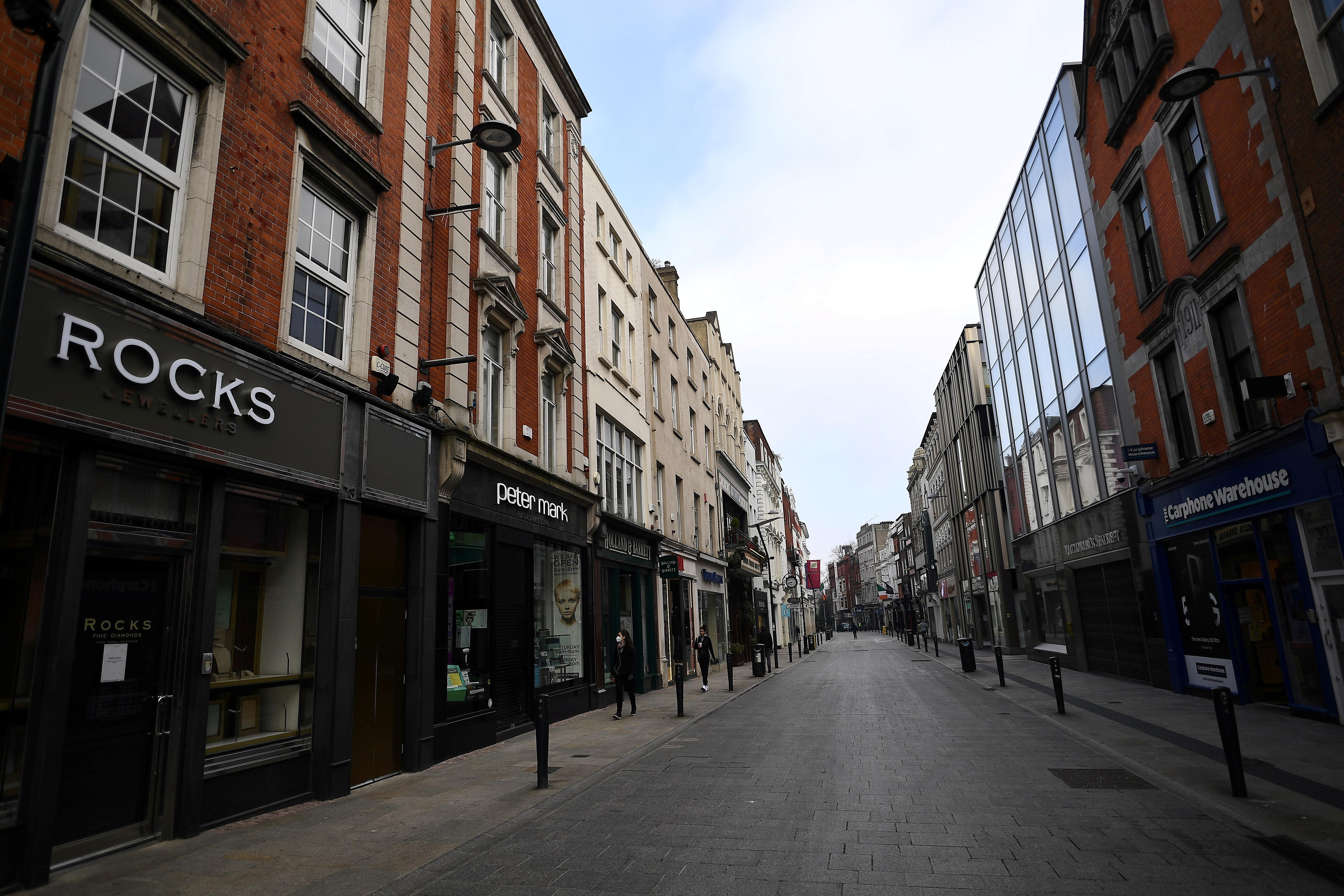 Empty city centre shopping street is seen, amid the outbreak of coronavirus disease (COVID-19), in Dublin, Ireland, March 1, 2021. REUTERS/Clodagh Kilcoyne