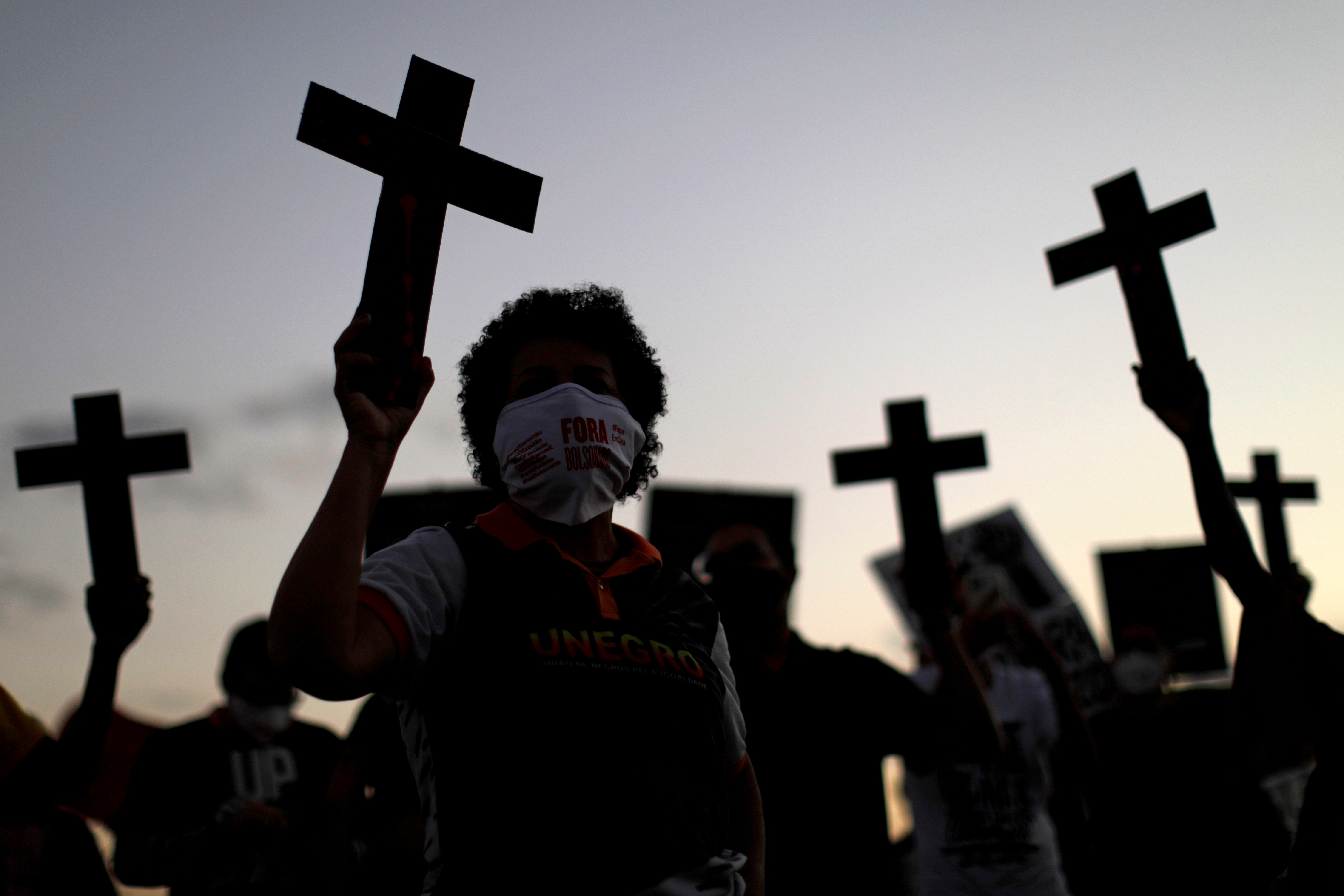 Black Movement activists protest against racism and police violence, on the day that marks 133 years since the abolition of Slavery in the country, in Brasilia, Brazil May 13, 2021. REUTERS/Ueslei Marcelino TPX IMAGES OF THE DAY