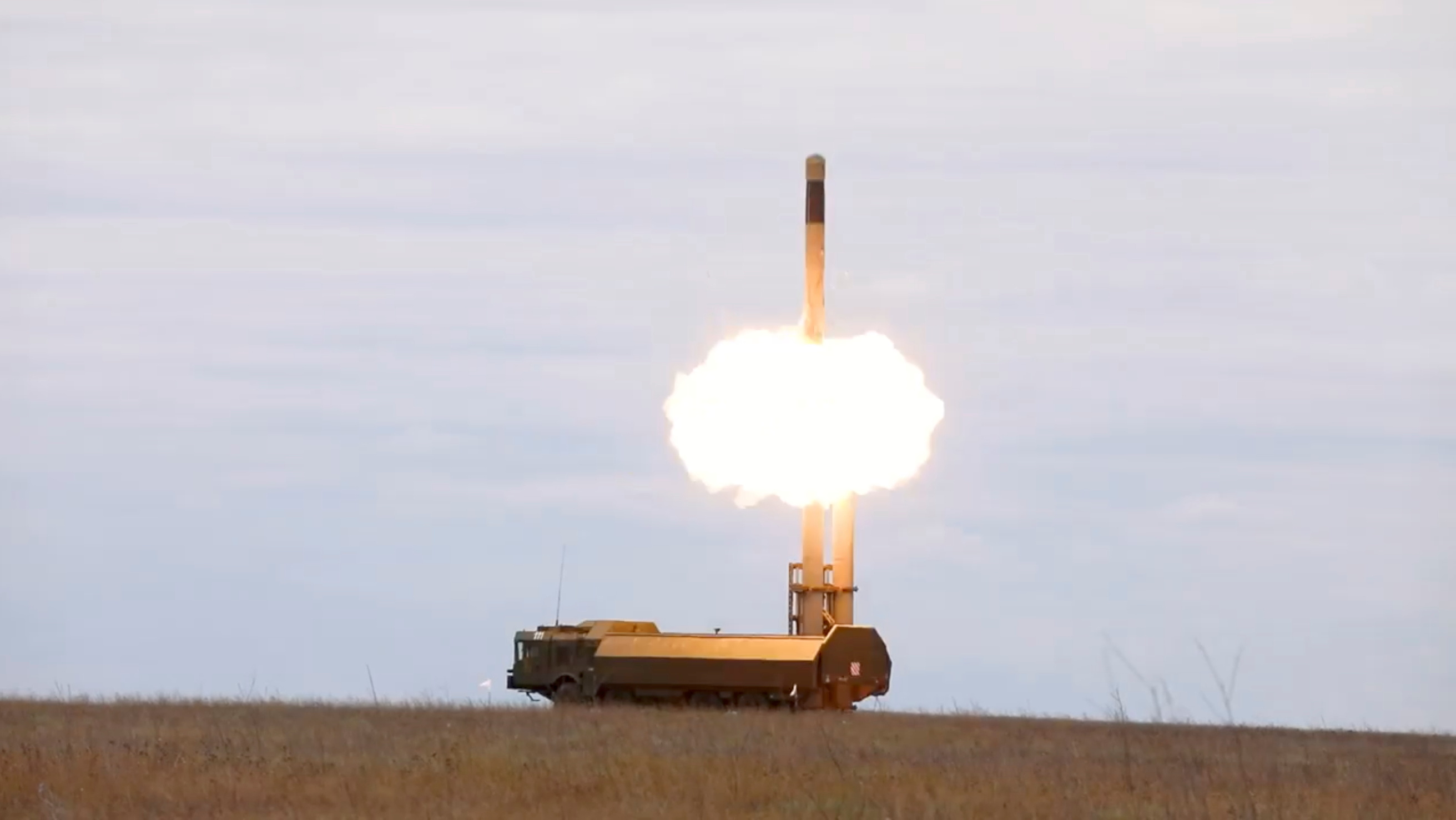 The Bastion coastal missile system of the Black Sea Fleet launches a missile against sea targets during the exercise at the Opuk training ground in Crimea, in this still image taken from video released September 23, 2021. Russian Defence Ministry Press Service/Handout via REUTERS