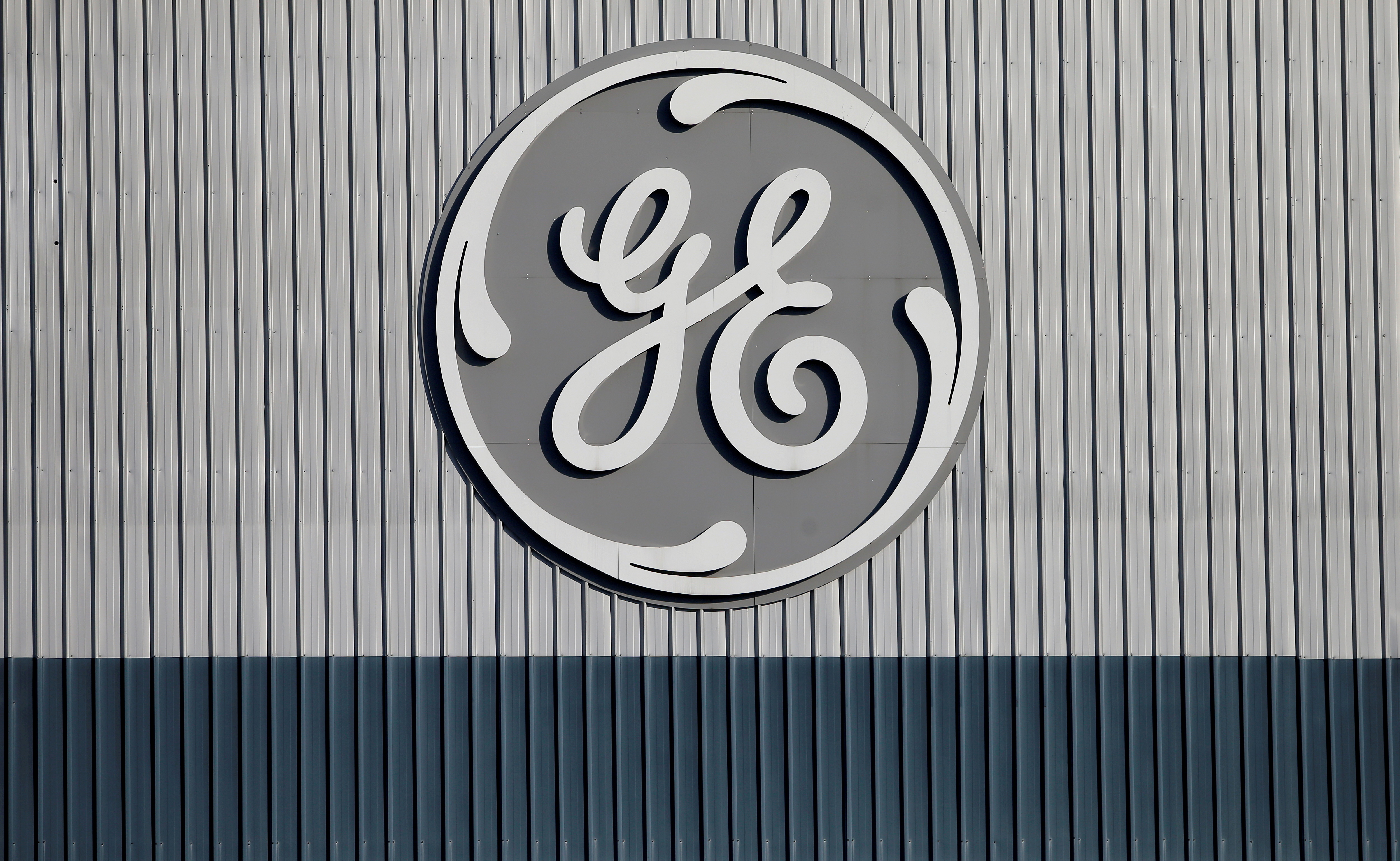 The logo of U.S. conglomerate General Electric is pictured at the site of the company's energy branch in Belfort, France, February 5, 2019. REUTERS/Vincent Kessler