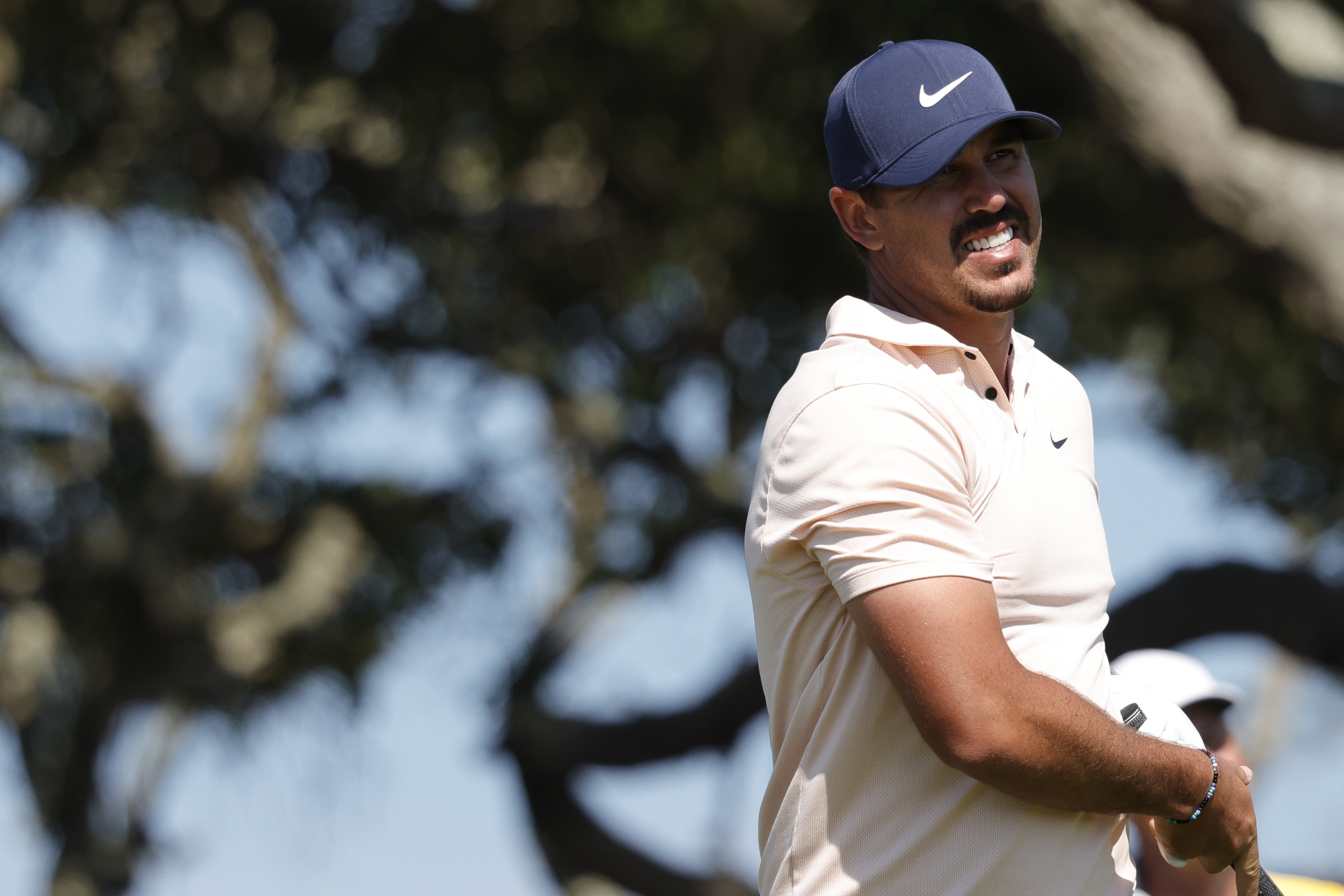 May 23, 2021; Kiawah Island, South Carolina, USA; Brooks Koepka reacts to his tee shot on the seventh hole during the final round of the PGA Championship golf tournament. Mandatory Credit: Geoff Burke-USA TODAY Sports