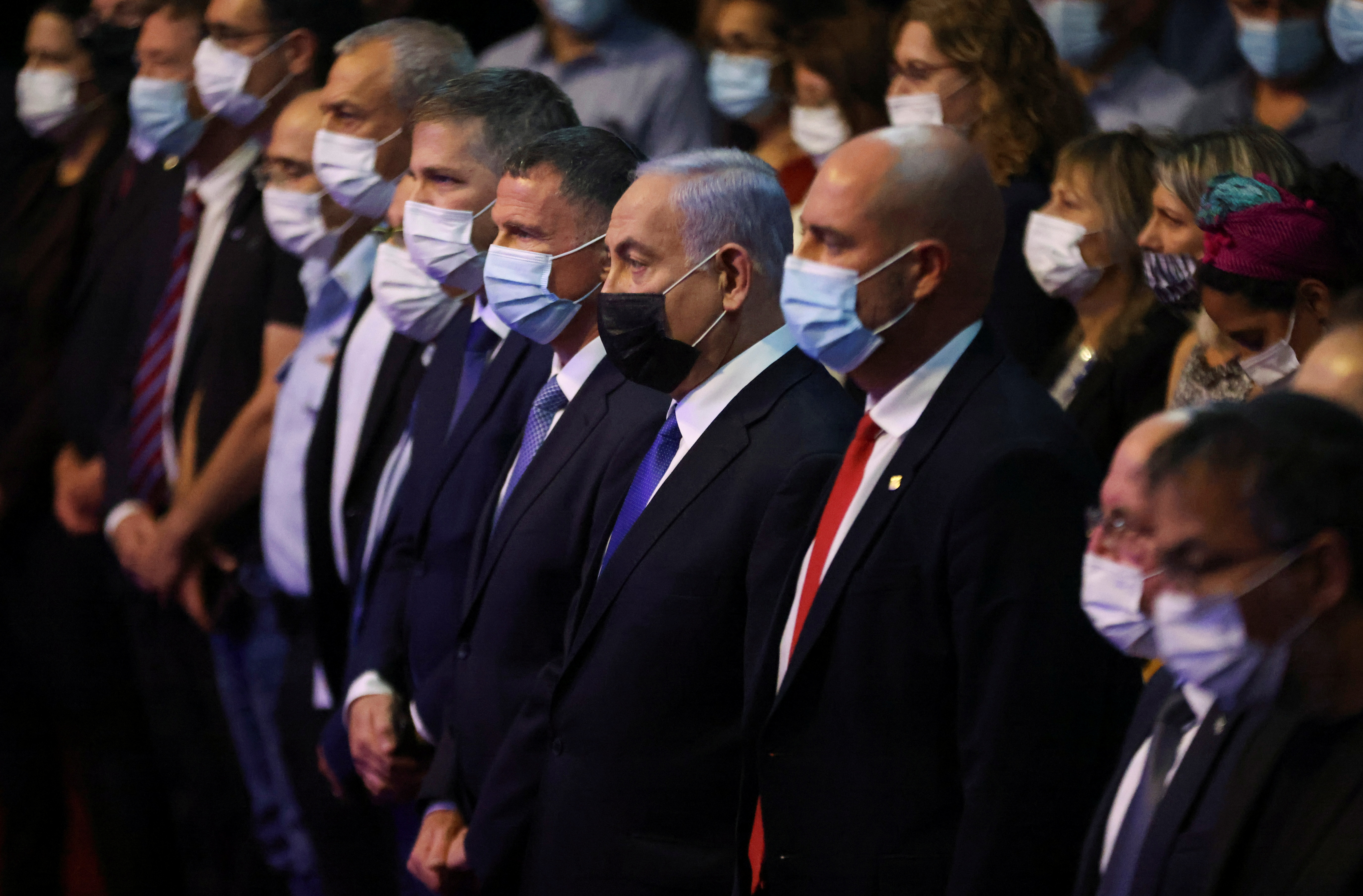 Israeli Prime Minister Benjamin Netanyahu attends a ceremony to show appreciation to the health sector for their contribution in the fight against the coronavirus disease (COVID-19), in Jerusalem June 6, 2021. REUTERS/Ronen Zvulun