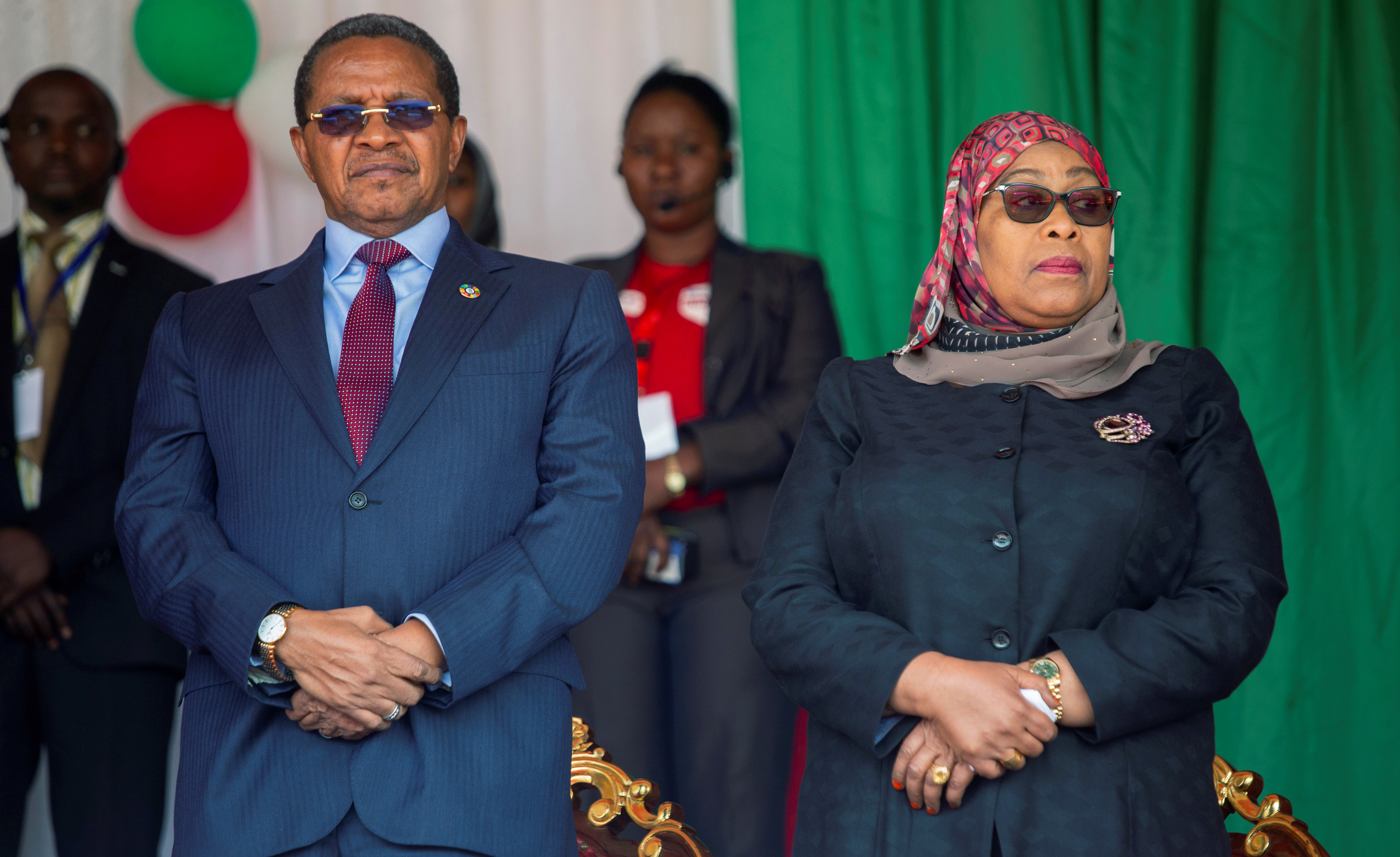 Former Tanzania's President Jakaya Kikwete and Tanzania's Vice President Samia Suluhu Hassan, at the Ingoma stadium in Gitega, Burundi June 18, 2020. REUTERS/Evrard Ngendakumana/File Photo