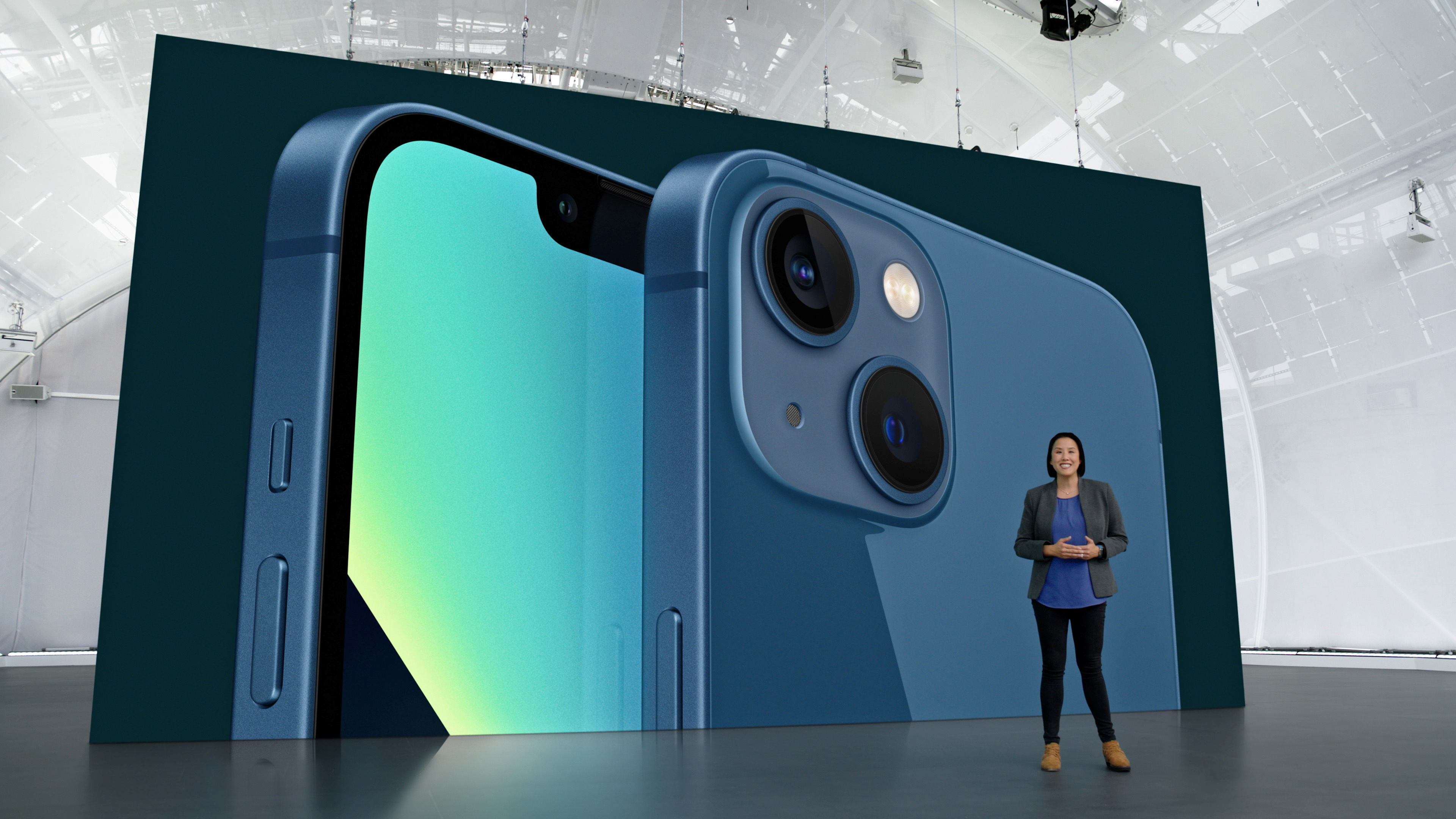 Apple's Kaiann Drance showcases the new iPhone 13 during a special event at Apple Park in Cupertino, California broadcast September 14, 2021 in a still image from video. Apple Inc/Handout via REUTERS