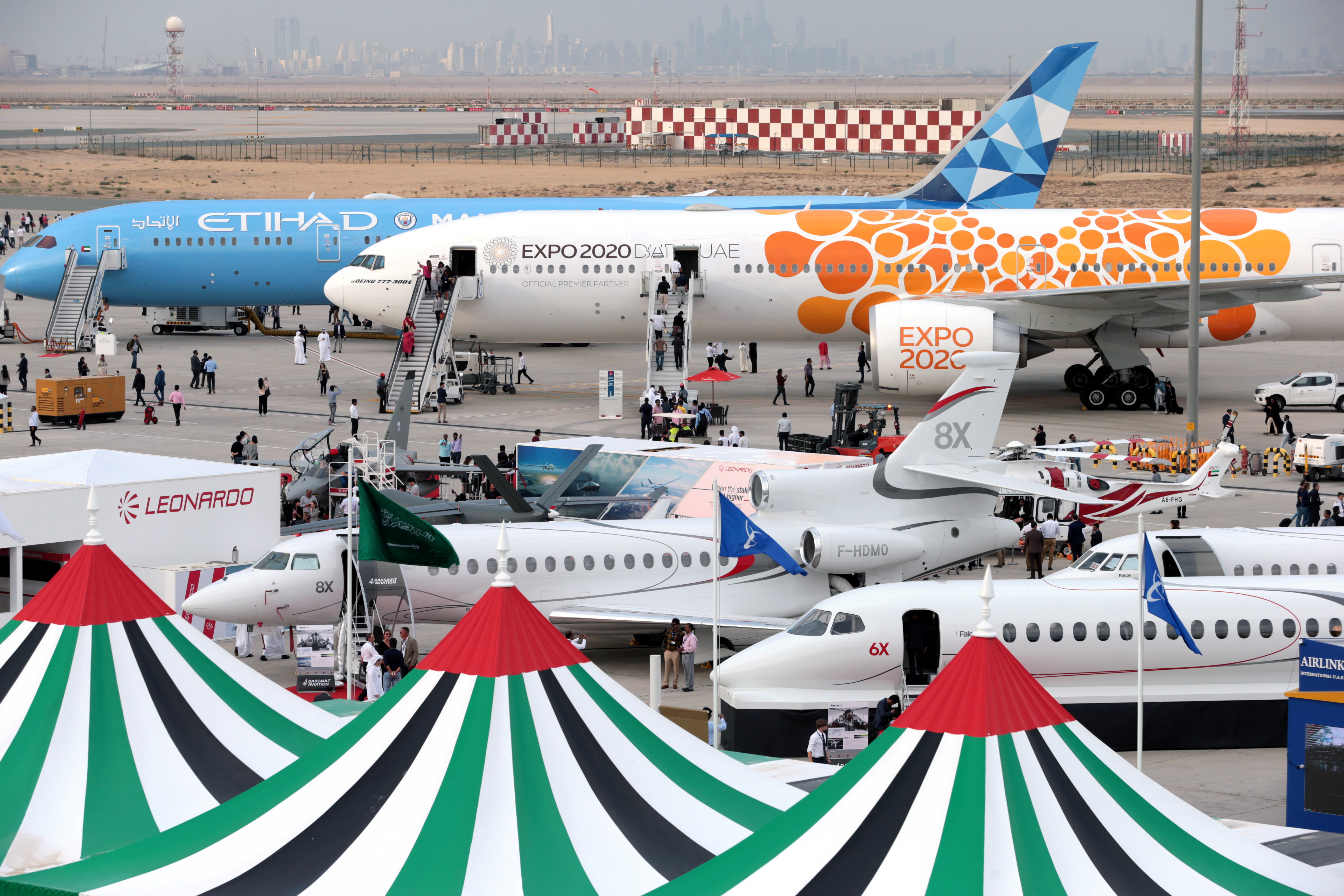 Aircraft sit on static display during the fifth day of Dubai Air Show in Dubai, United Arab Emirates November 21, 2019. REUTERS/Christopher Pike/Files