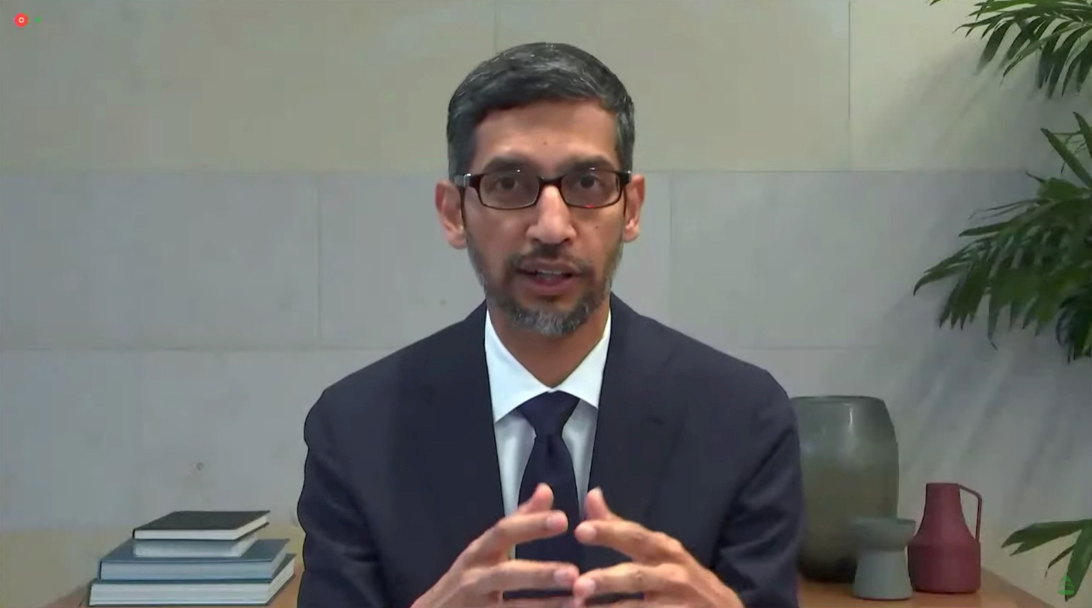 Google CEO Sundar Pichai testifies during a remote video hearing held by subcommittees of the U.S. House of Representatives Energy and Commerce Committee on