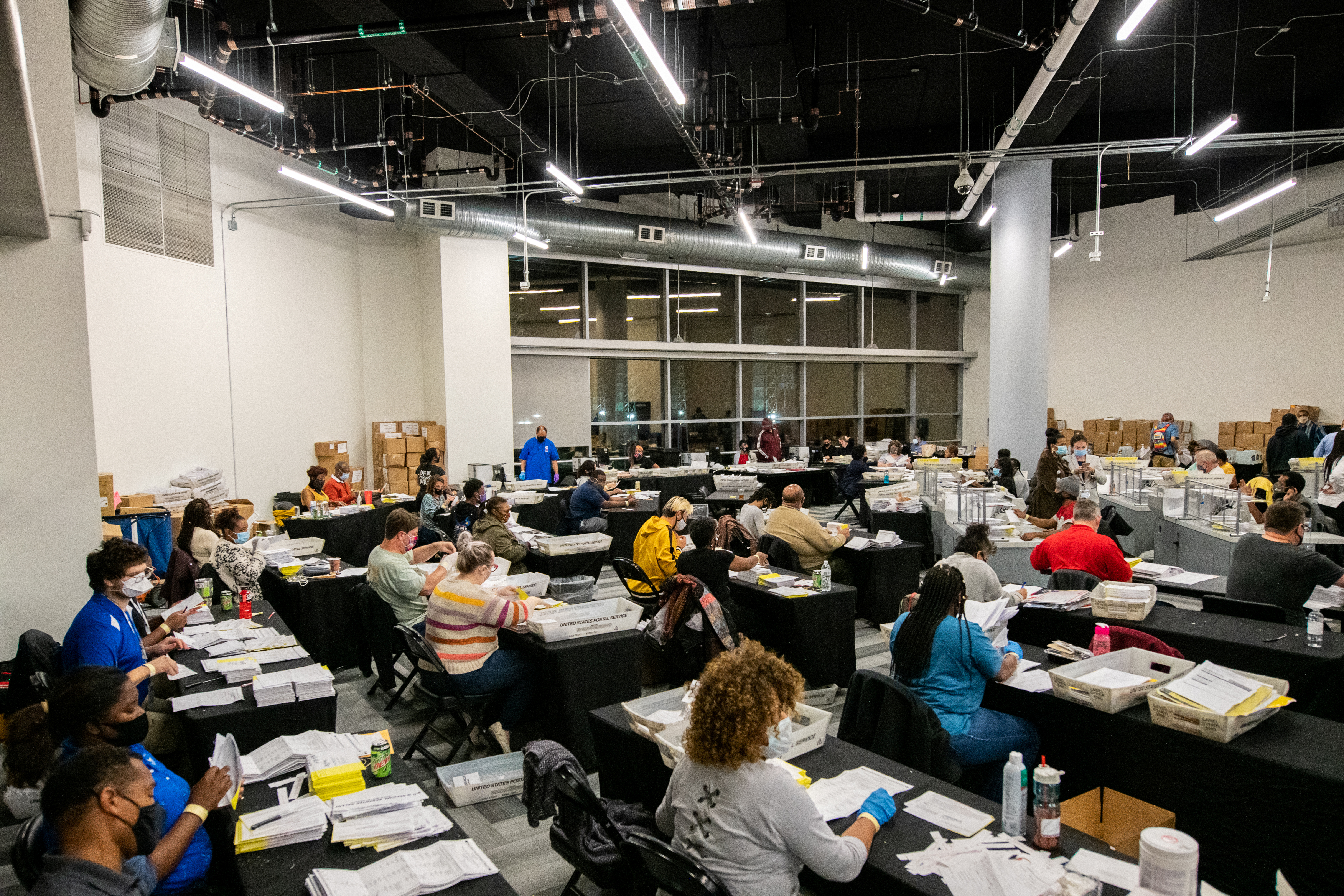 Employees of the Fulton County Board of Registration and Elections process ballots in Atlanta, Georgia U.S. REUTERS/Brandon Bell