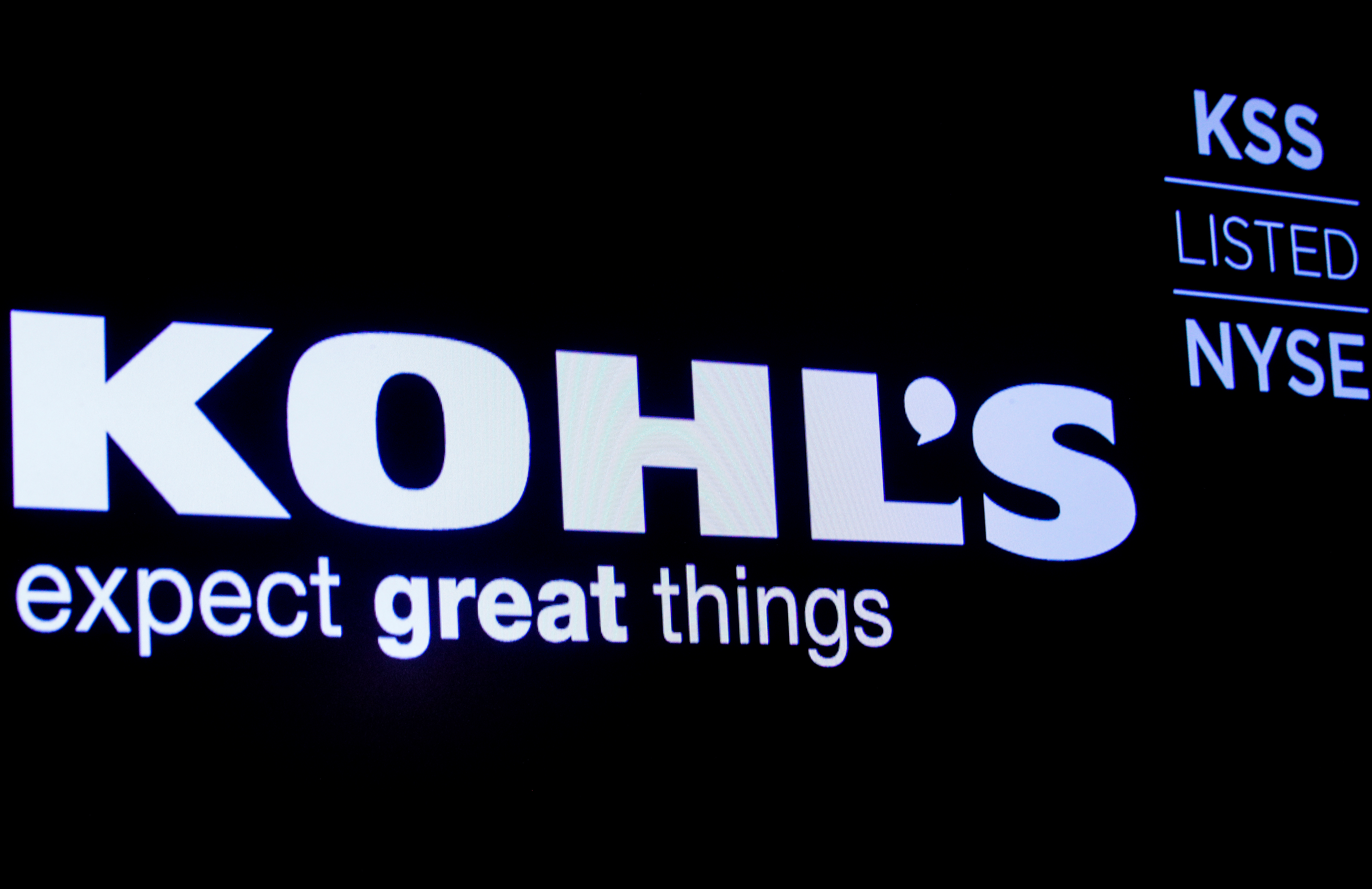 The logo and trading informations for Kohl's  is displayed on a screen on the floor at the New York Stock Exchange (NYSE) in New York, U.S., January 13, 2020. REUTERS/Brendan McDermid