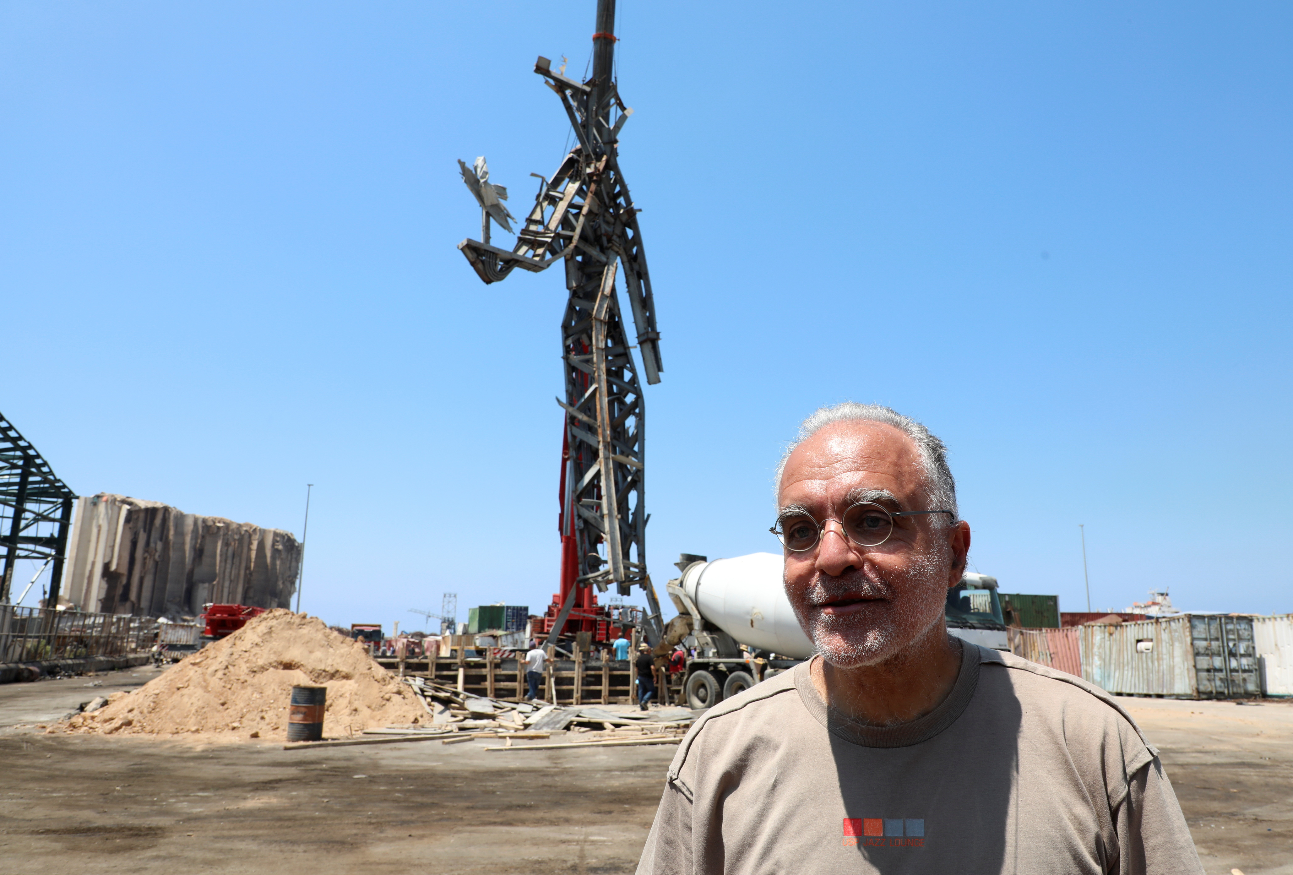 Lebanese architect Nadim Karam attends an interview with Reuters at Beirut's port in Lebanon, July 27, 2021. Picture taken July 27, 2021. REUTERS/Mohamed Azakir