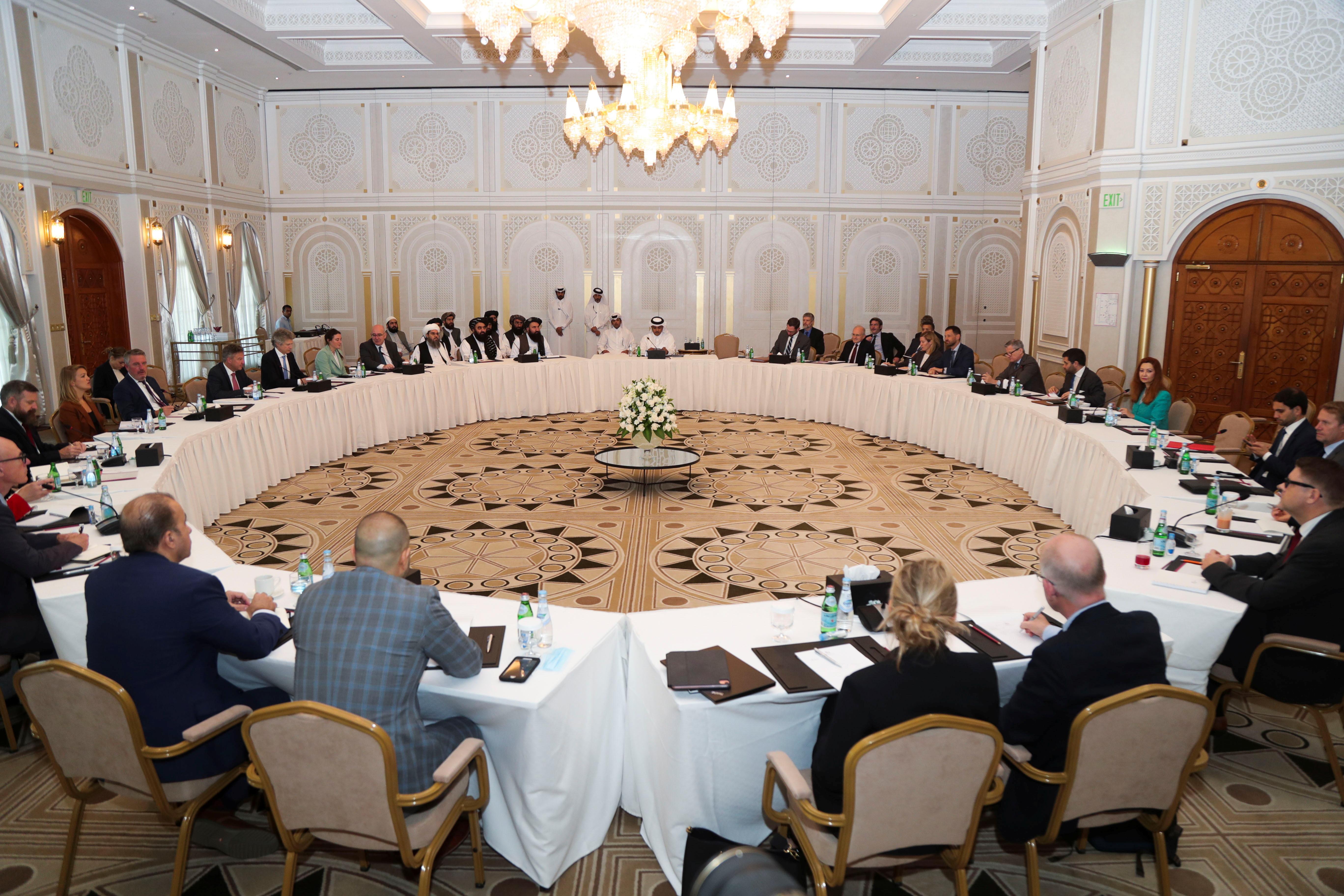 Taliban delegates meet with U.S. and European delegates in Doha, Qatar October 12, 2021. REUTERS/Stringer