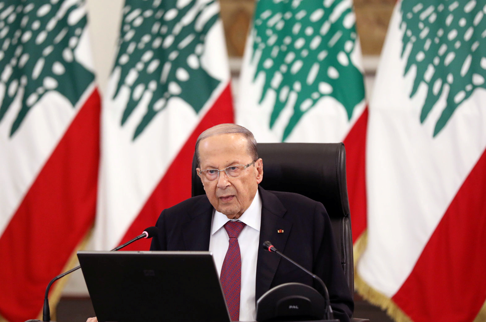 Lebanon's President Michel Aoun delivers a speech at the presidential palace in Baabda, Lebanon, June 25, 2020. REUTERS/Mohamed Azakir