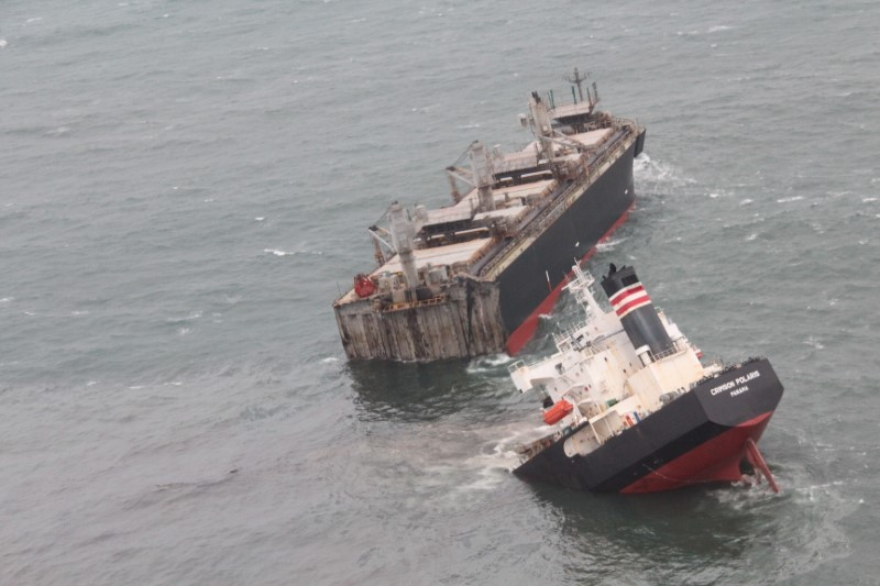A view of the Panamanian-registered ship 'Crimson Polaris' after it ran aground in Hachinohe harbour in Hachinohe, northern Japan, August 12, 2021, in this handout photo taken and released by 2nd Regional Coast Guard Headquarters. Courtesy 2nd Regional Coast Guard Headquarters - Japan Coast Guard/Handout via REUTERS ATTENTION EDITORS - THIS PICTURE WAS PROVIDED BY A THIRD PARTY. MANDATORY CREDIT.