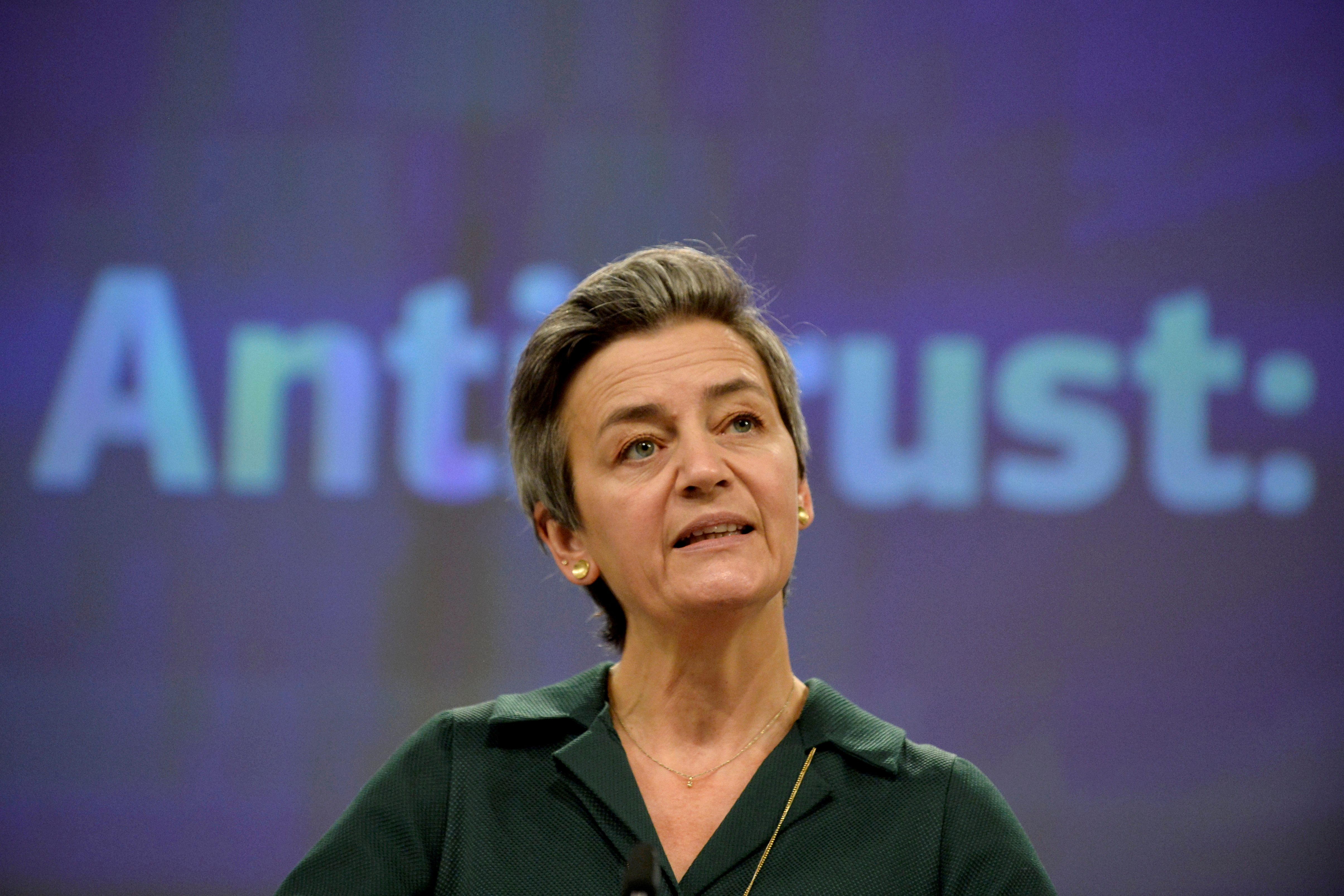 European Executive Vice- President Margrethe Vestager at the European Commission in Brussels, Belgium November 26, 2020. REUTERS/Johanna Geron/Pool/File Photo