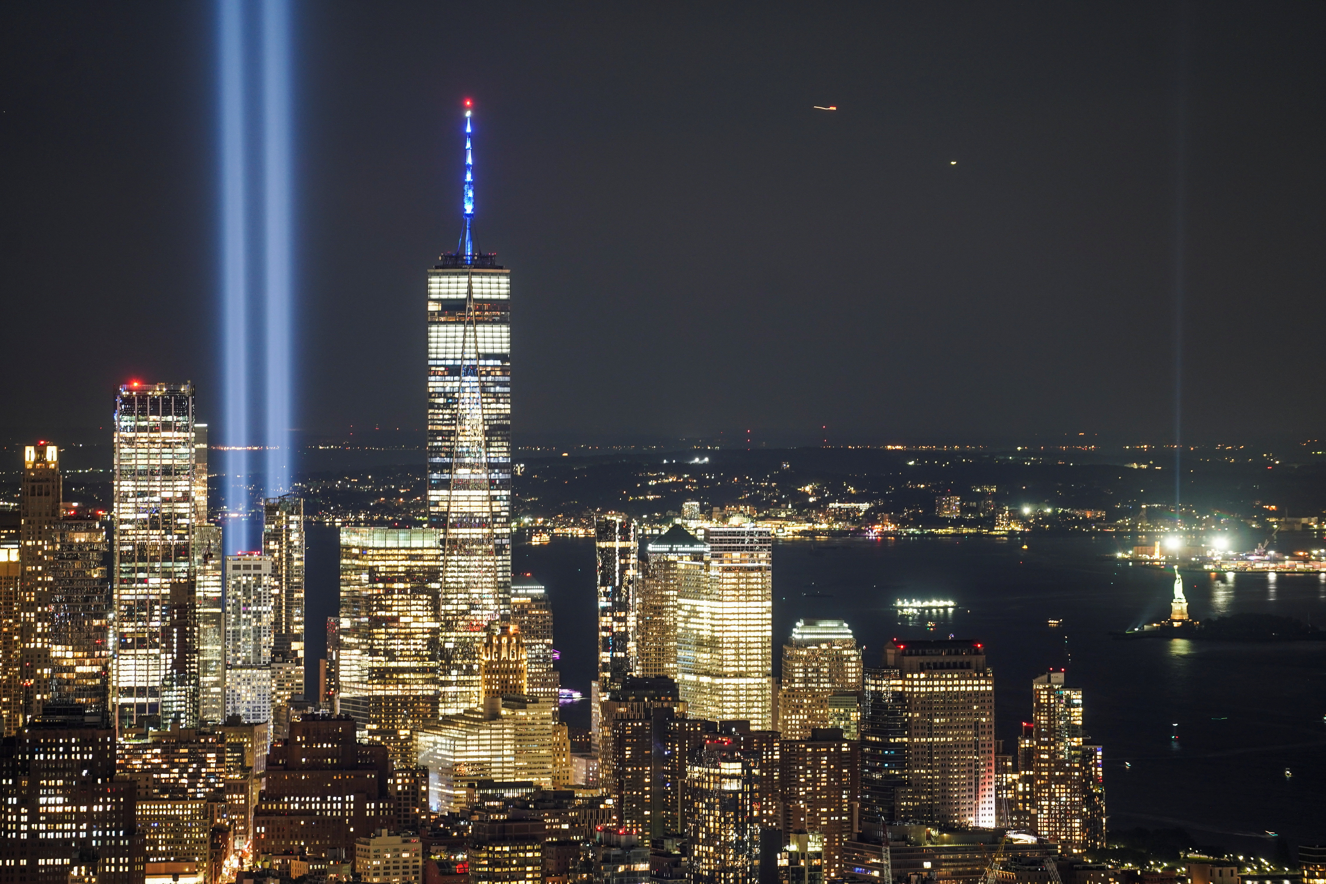The Tribute in Light art installation is seen from Empire State Building, commemorating the 20th anniversary of the September 11, 2001 attacks, in New York City, New York, U.S., September 11, 2021. REUTERS/Go Nakamura