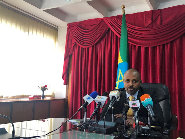 Ethiopia's state minister of Finance, Eyob Tekalign Tolina, speaks during a news conference announcing that Ethiopia has appointed a transaction adviser in the privatisation process for state-run Ethio Telecom, in Addis Ababa, Ethiopia September 26, 2019. REUTERS/Giulia Paravicini/File Photo