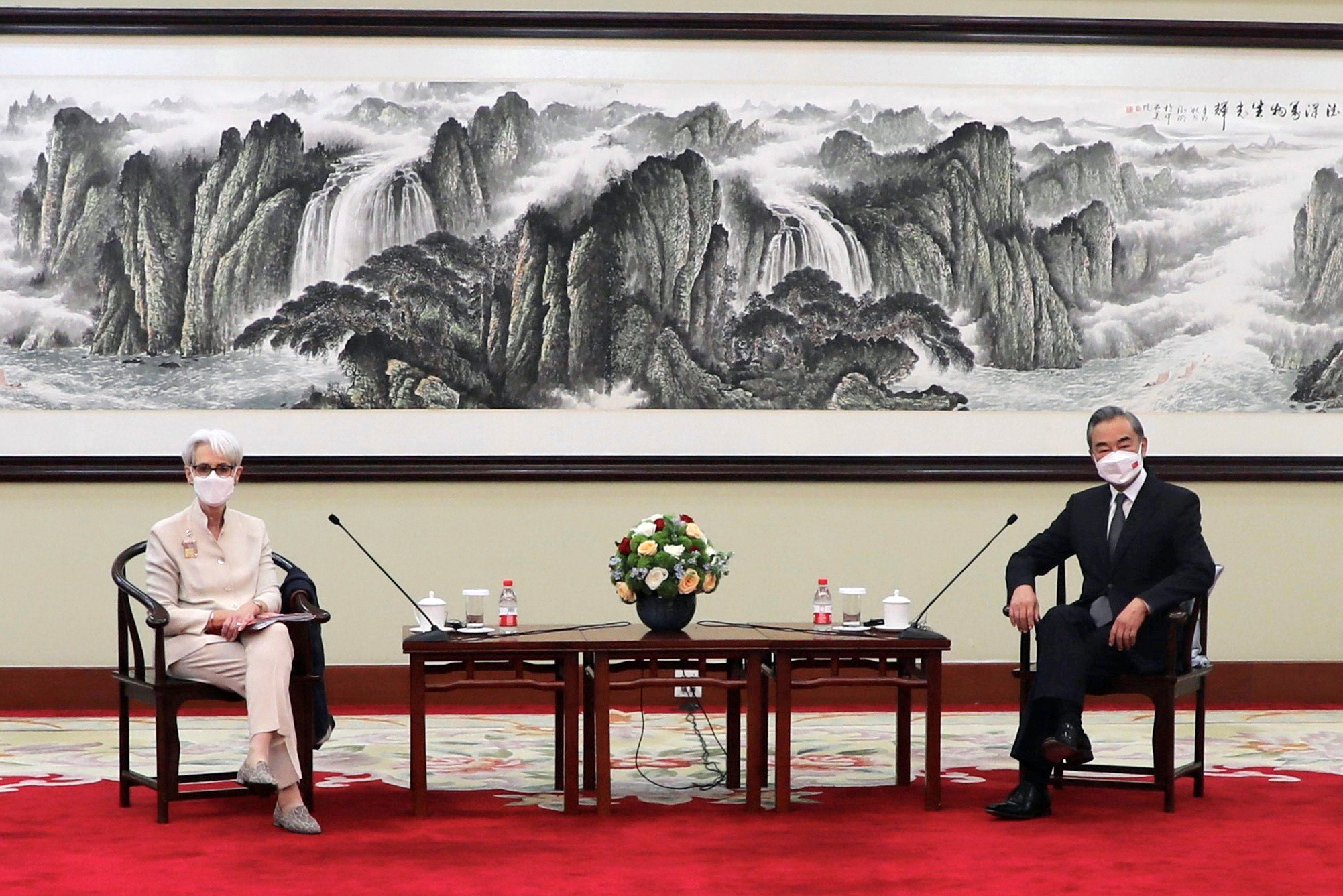 U.S. Deputy Secretary of State Wendy Sherman meets Chinese State Councilor and Foreign Minister Wang Yi in Tianjin, China in this handout picture released July 26, 2021. U.S. Department of State/Handout via REUTERS