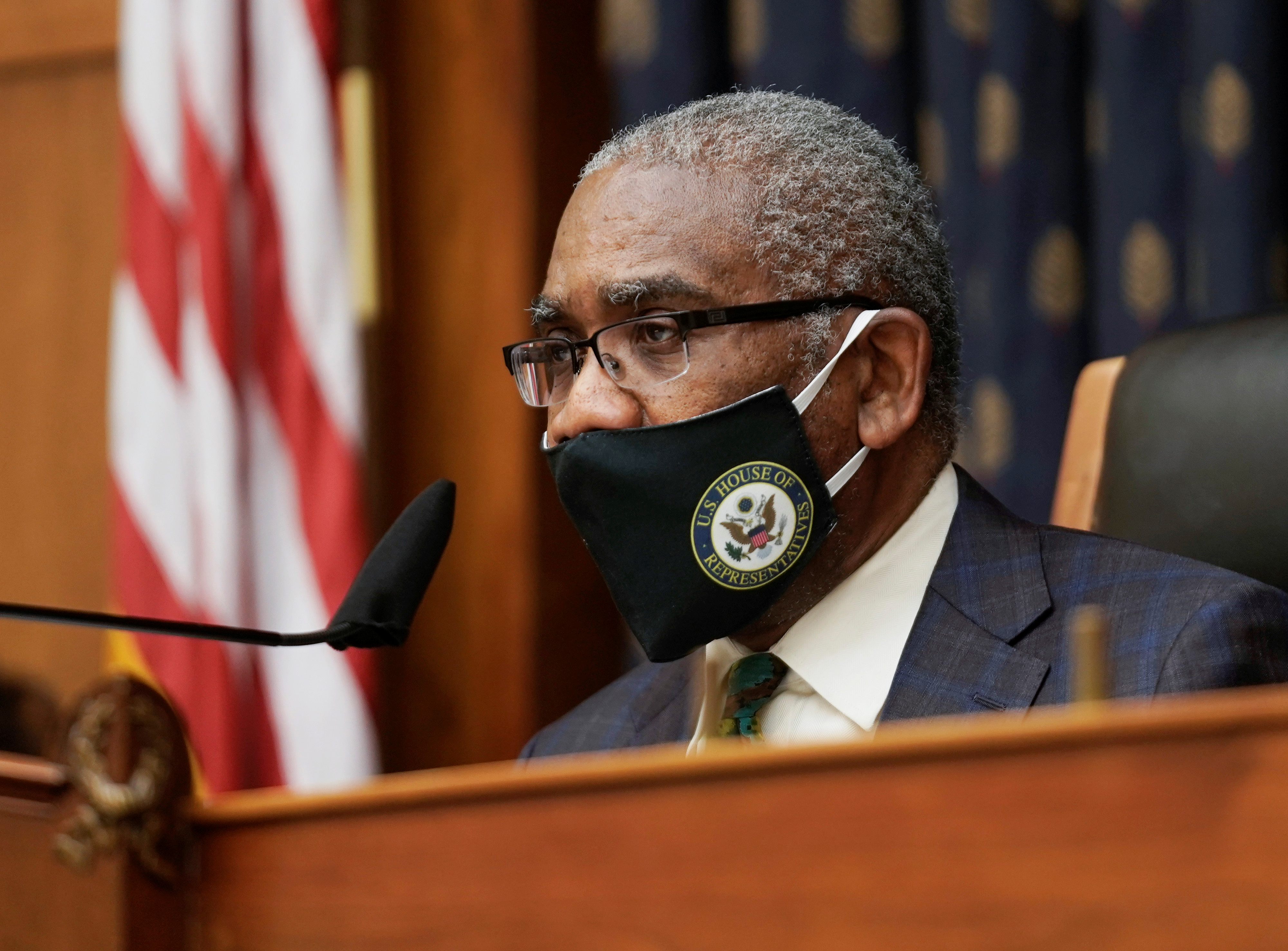 Chairman Rep. Gregory W. Meeks wears a face mask as U.S. Secretary of State Antony Blinken testifies before the House Committee on Foreign Affairs on the Biden Administration's Priorities for U.S. Foreign Policy on Capitol Hill in Washington, DC, U.S., March 10, 2021. Ken Cedeno/Pool via REUTERS
