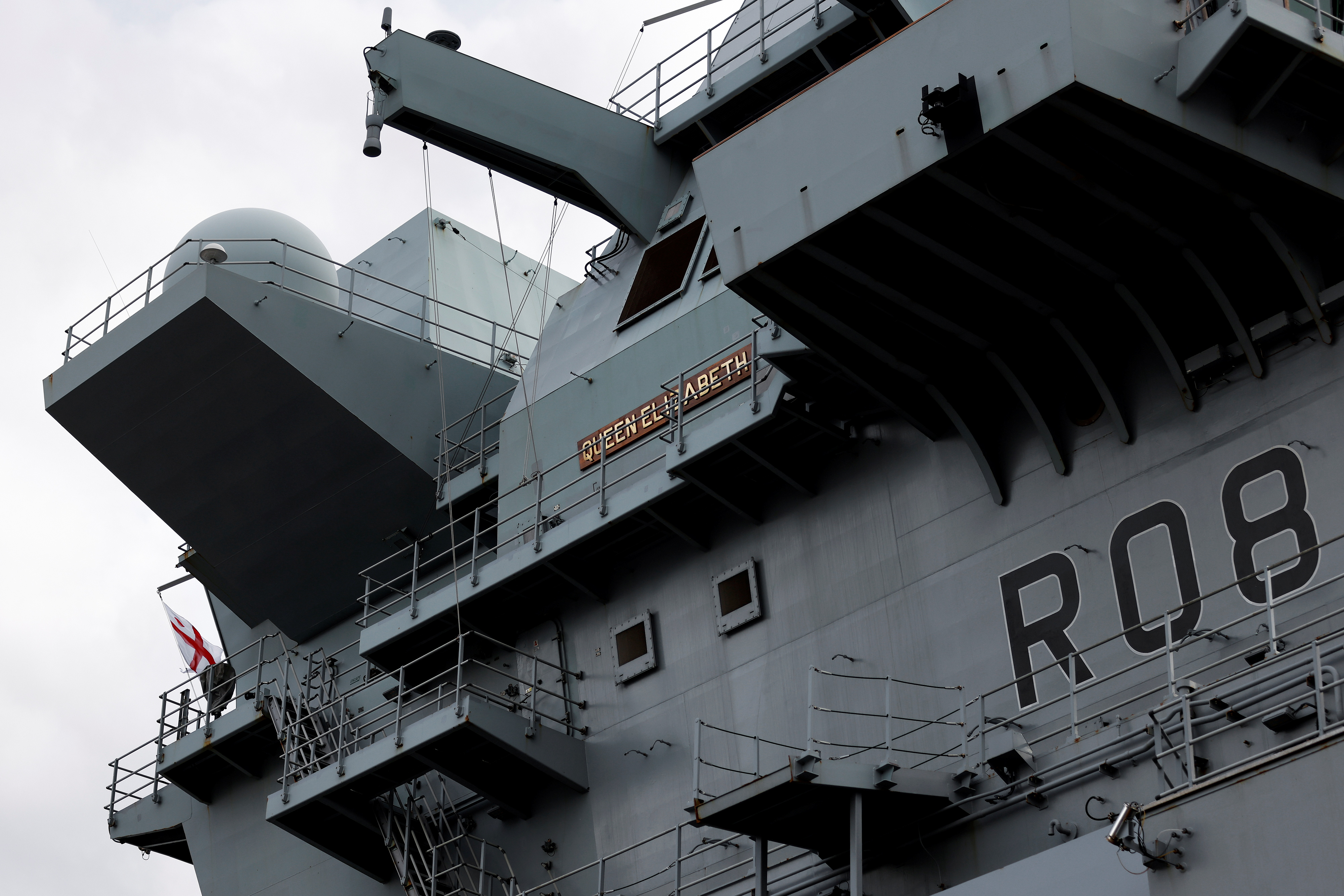 A view of the British Royal Navy's HMS Queen Elizabeth aircraft carrier at the U.S. naval base in Yokosuka, Kanagawa Prefecture, Japan September 6, 2021.  Kiyoshi Ota/Pool via REUTERS