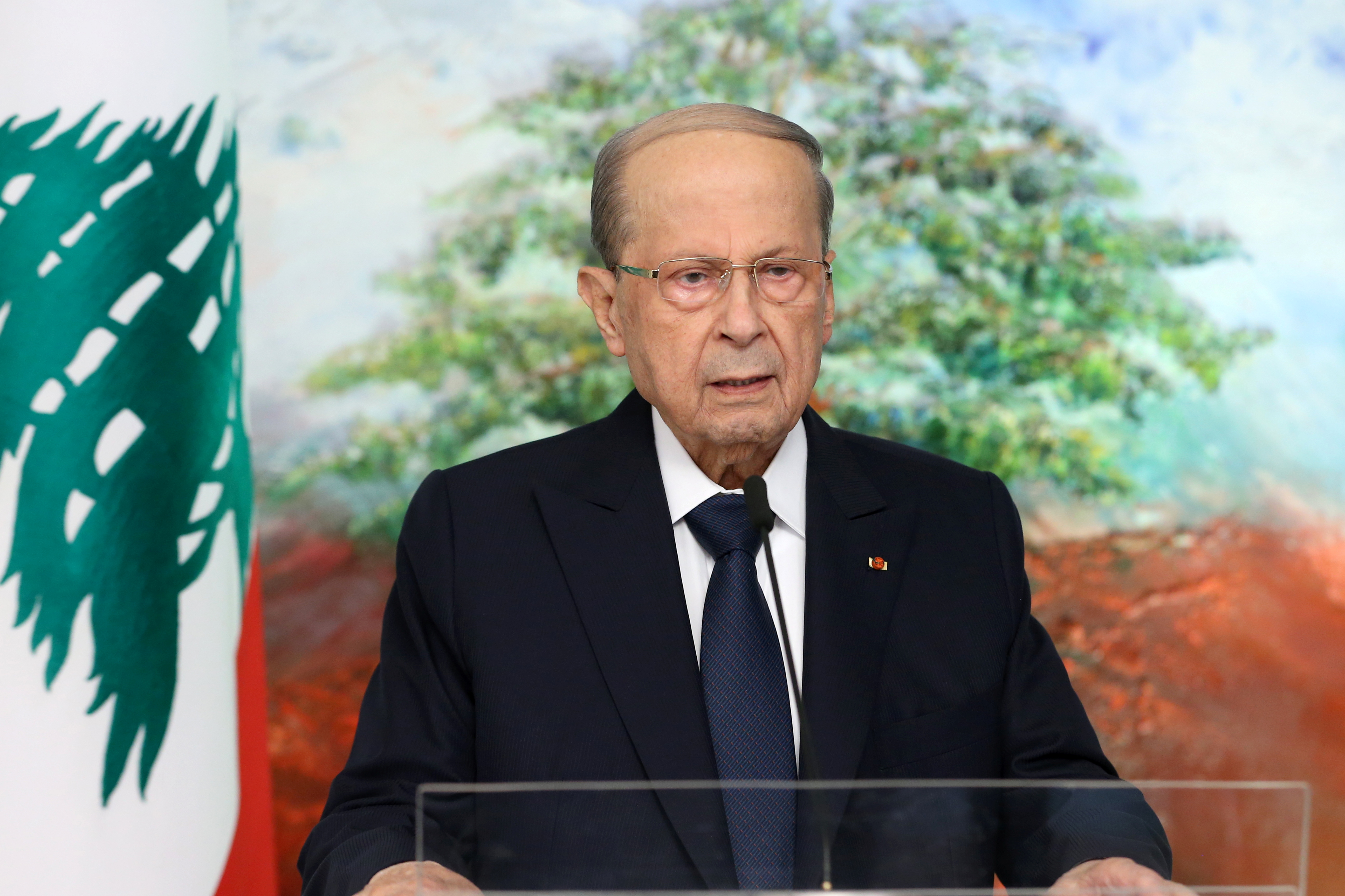 Lebanon's President Michel Aoun is seen in this handout picture released by Dalati Nohra on September 24, 2021, while addressing the United Nations General Assembly via a recorded video message, in Baabda, Lebanon. Dalati Nohra/Handout via REUTERS