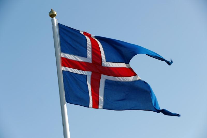 A national flag of Iceland flutters ahead of German Chancellor Angela Merkel's visit in Reykjavik, Iceland August 19, 2019. REUTERS/Ints Kalnins