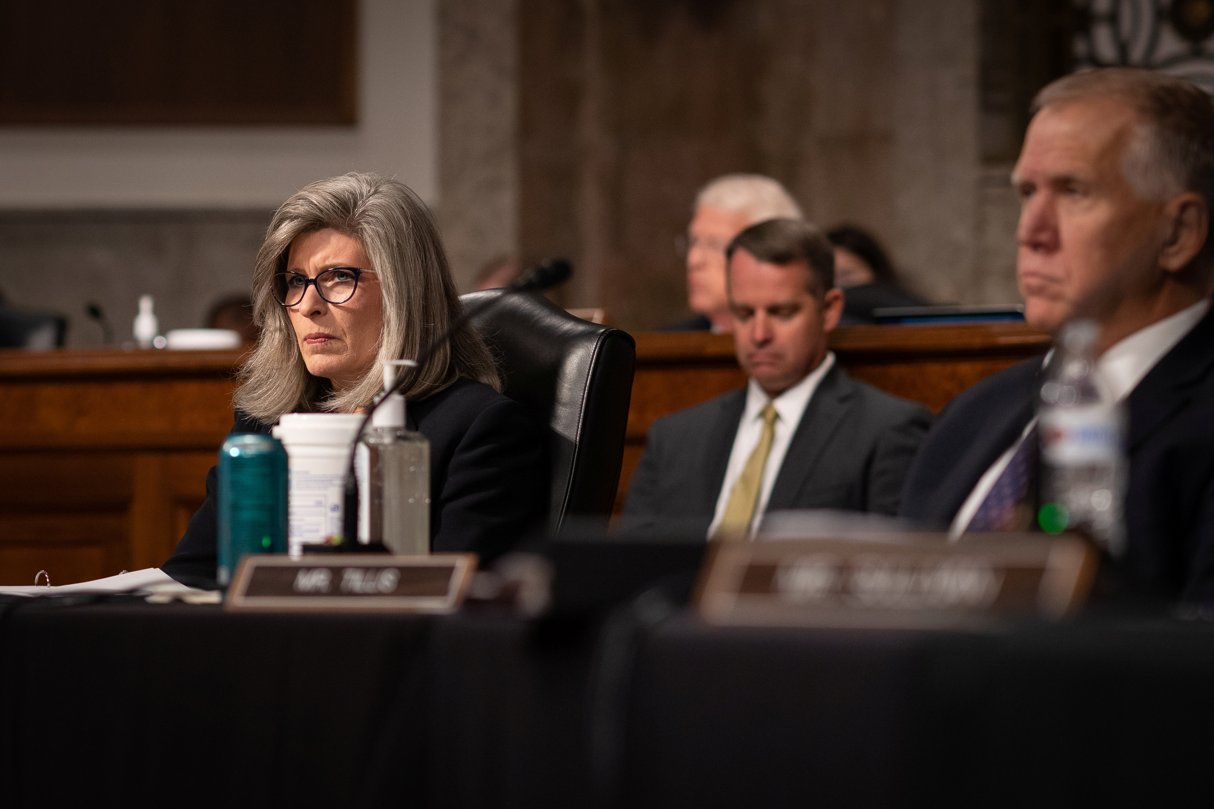 U.S. Senator Joni Ernst (R-IA) listens during a Senate Armed Services Committee hearing on the conclusion of military operations in Afghanistan and plans for future counterterrorism operations, on Capitol Hill in Washington, U.S., September 28, 2021. Sarahbeth Maney/Pool via REUTERS