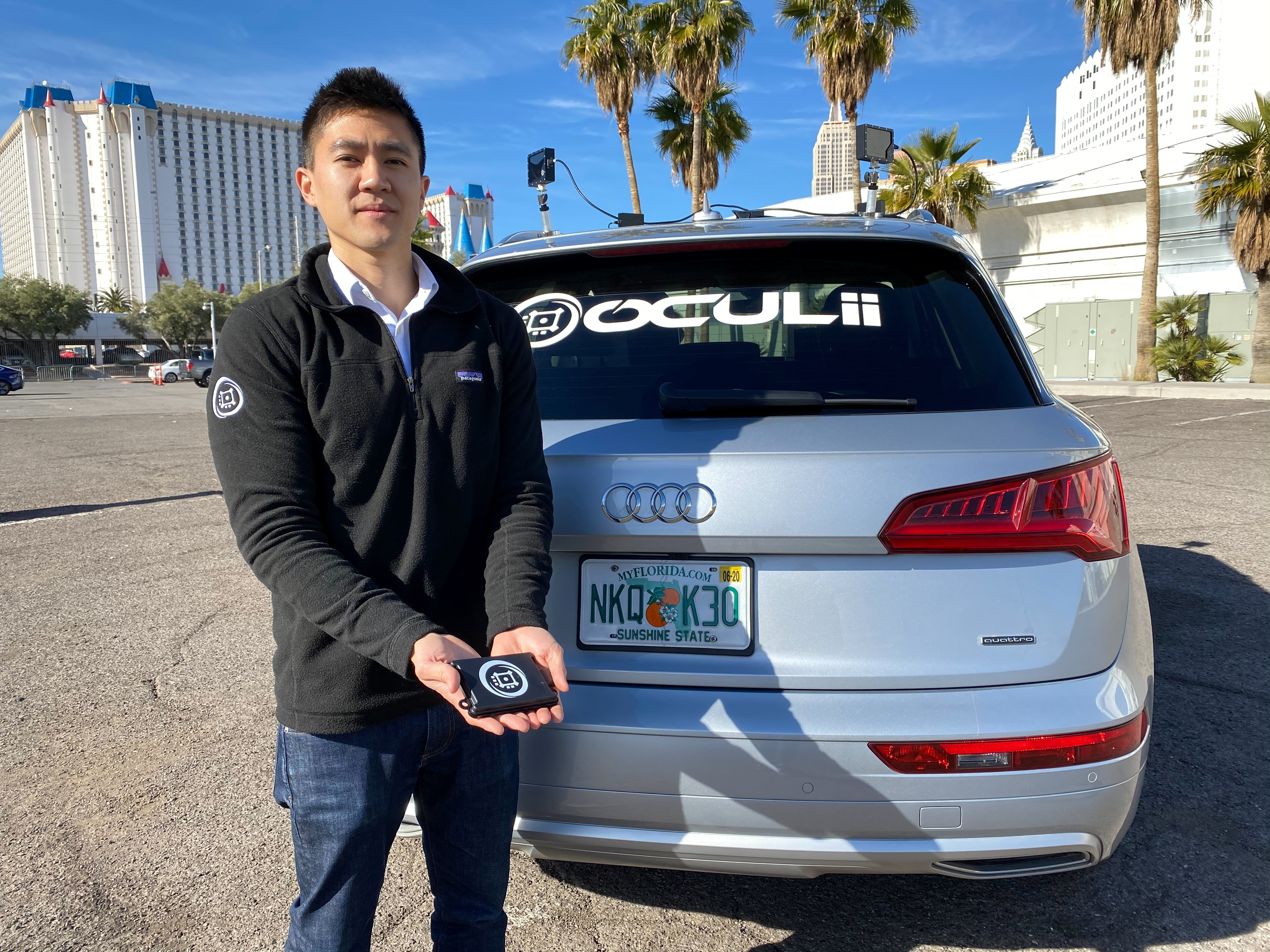 Oculii CEO Steven Hong shows the company's radar kit at the CES tech show in Las Vegas, Nevada, U.S. January 5, 2020. Oculii's AI software helps boost the resolution of radars so it can be used in self-driving cars. Picture taken January 5, 2020.  REUTERS/Jane Lanhee Lee