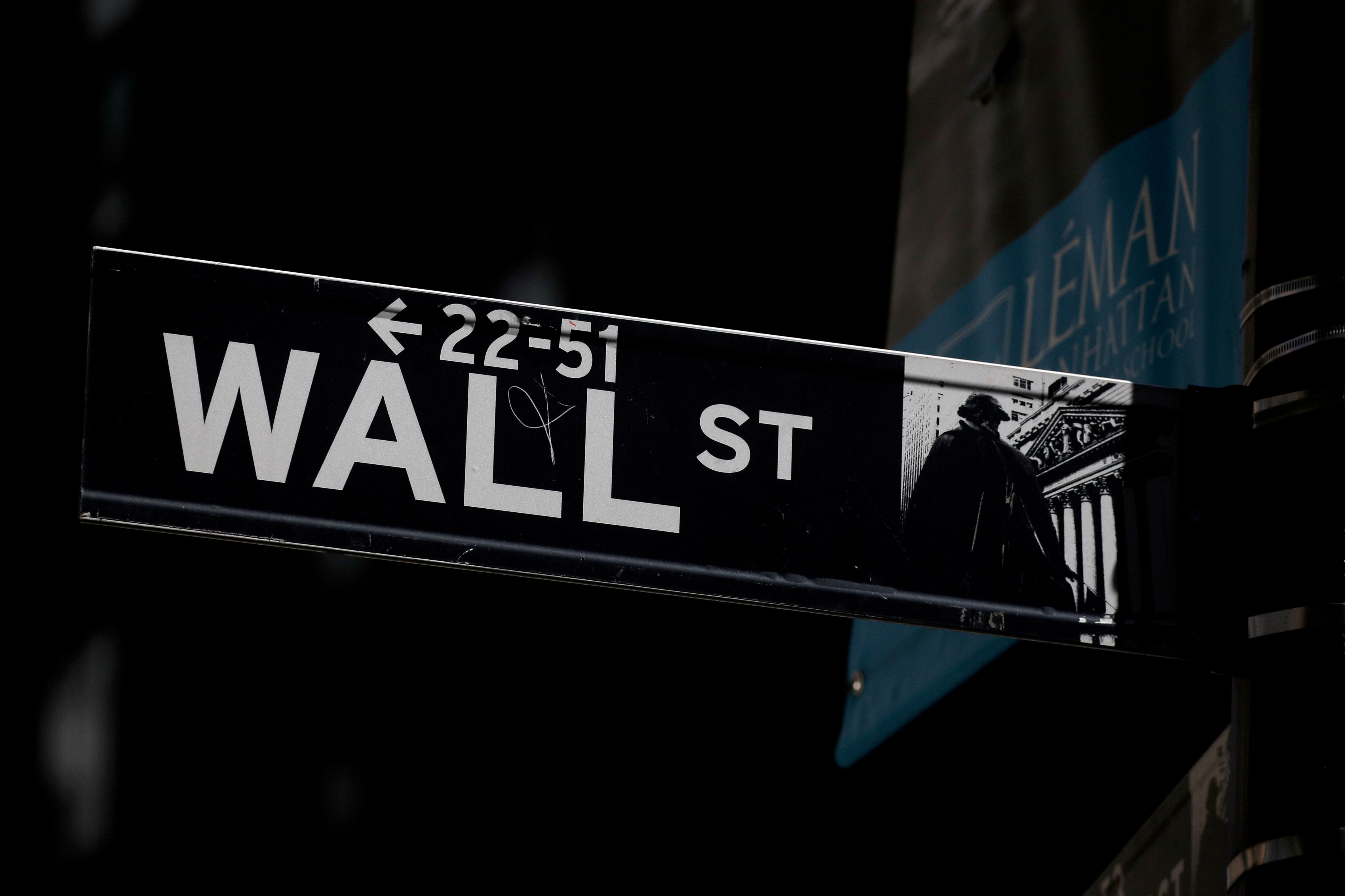 A Wall St. street sign is seen near the New York Stock Exchange (NYSE) in New York City, U.S., September 17, 2019. REUTERS/Brendan McDermid/File Photo/File Photo