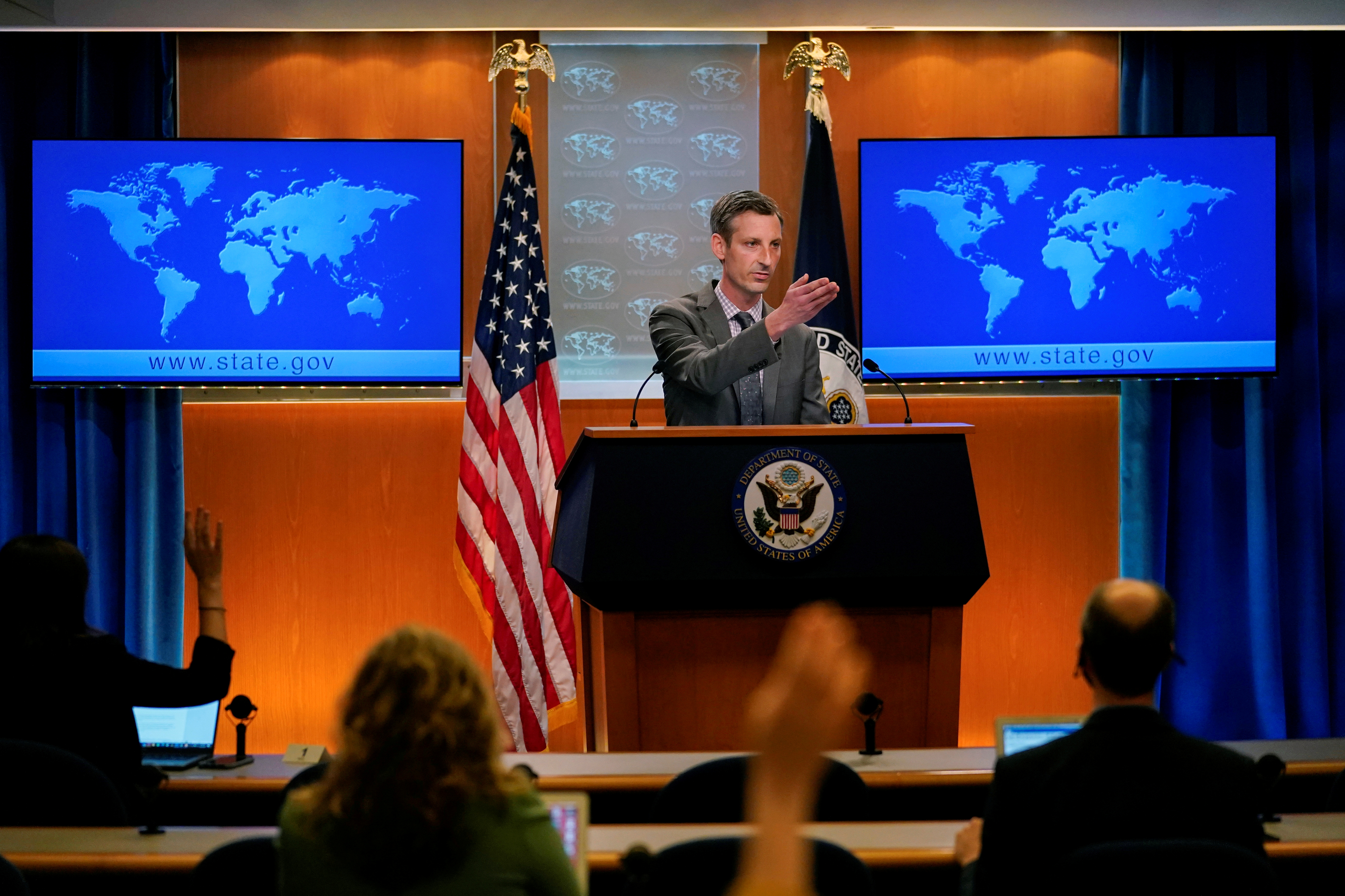 U.S. State Department spokesman Ned Price takes questions from reporters at the State Department in Washington, U.S., March 31, 2021. Carolyn Kaster/Pool via REUTERS