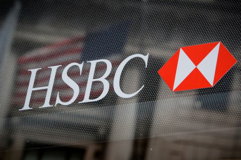 HSBC logo is seen on a branch bank in the financial district in New York, U.S., August 7, 2019. REUTERS/Brendan McDermid/File Photo