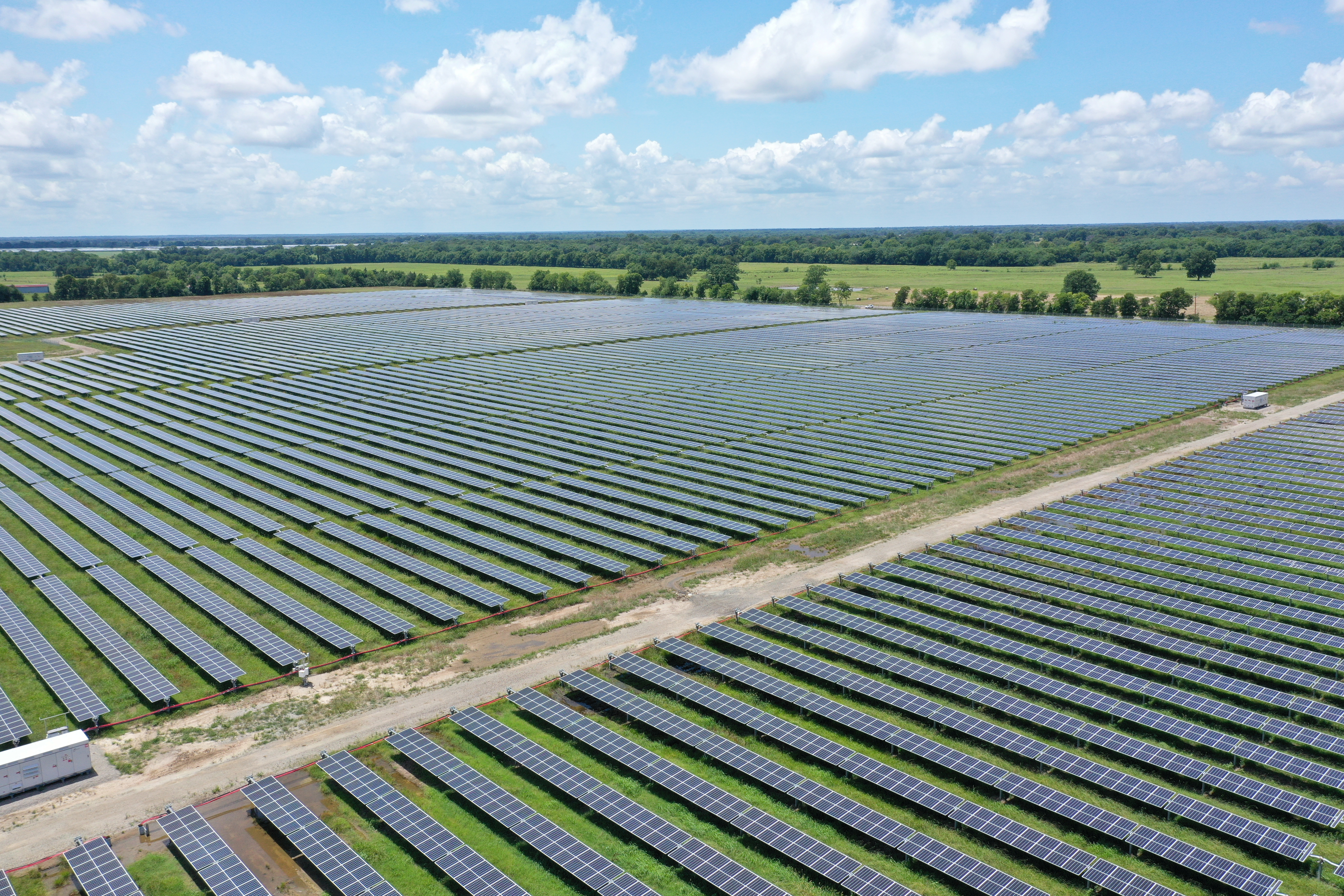 Solar panels are seen in this drone photo at the Impact solar facility in Deport, Texas, U.S., July 15, 2021.   REUTERS/Drone Base