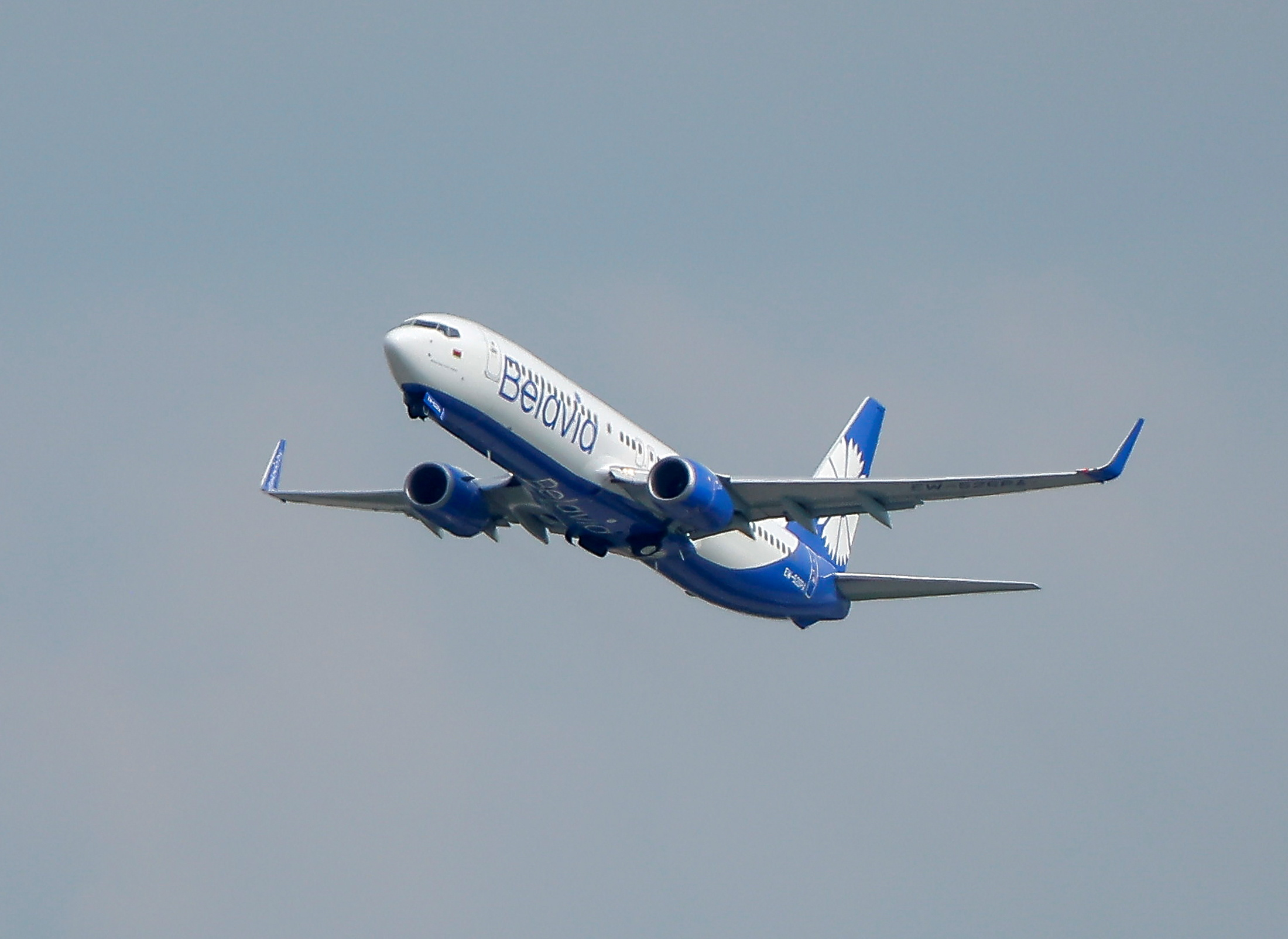 A Boeing 737-800 plane of Belarusian state carrier Belavia takes off at the Domodedovo Airport outside Moscow, Russia May 28, 2021.  REUTERS/Maxim Shemetov/File Photo