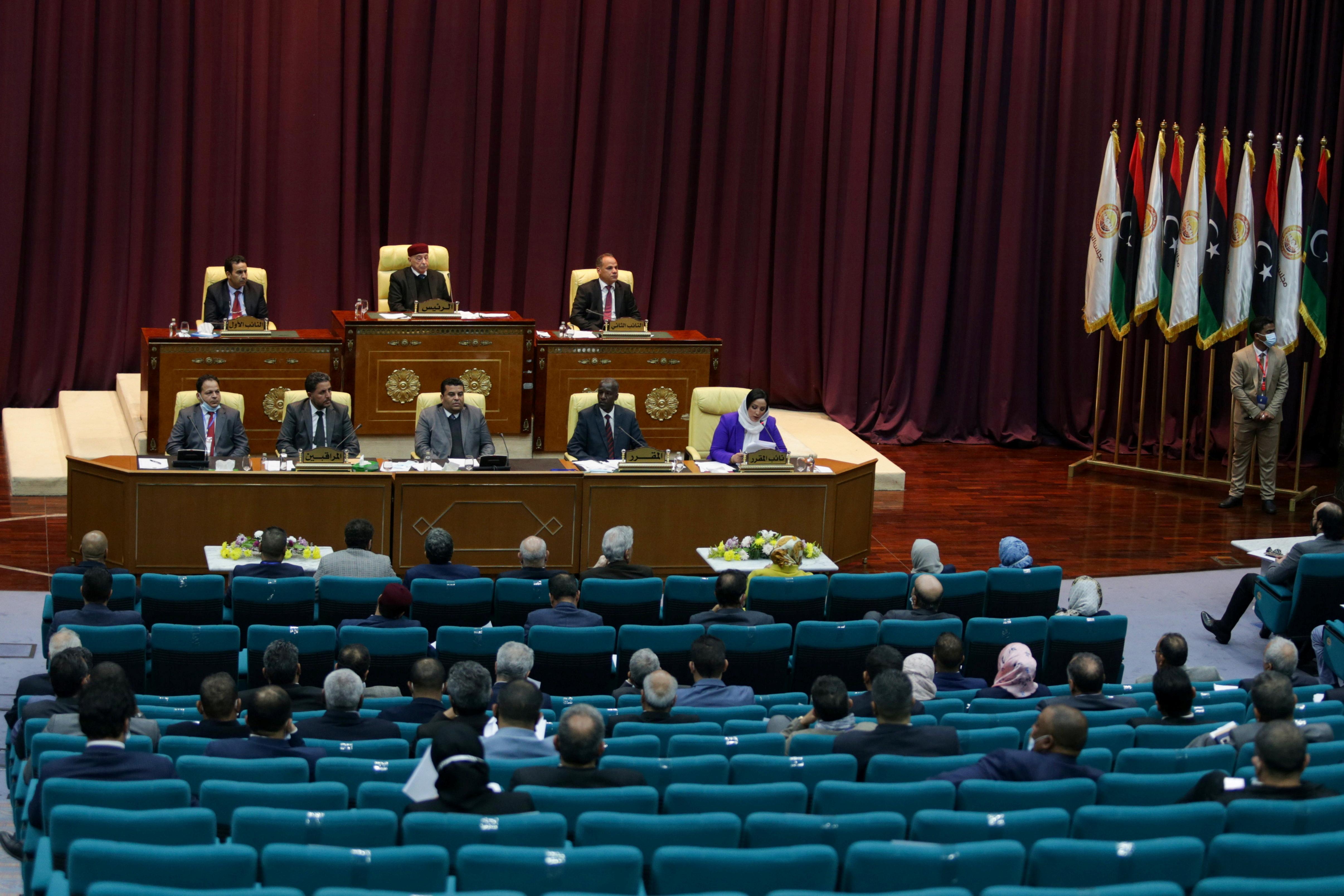 Libyan Parliament meet to discuss approving new government, in Sirte, Libya March 8, 2021. REUTERS/Esam Omran Al-Fetori