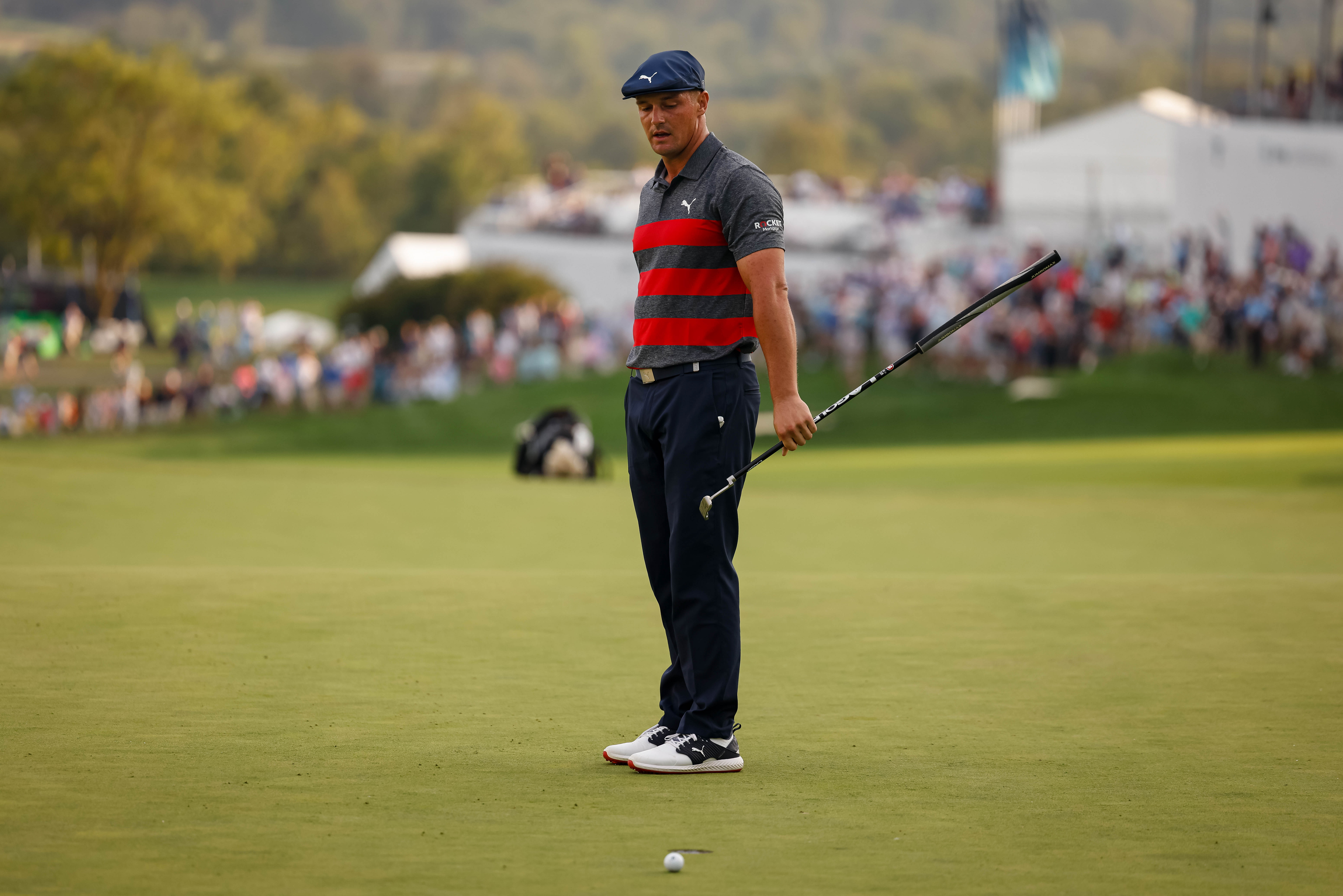 Aug 29, 2021; Owings Mills, Maryland, USA; Bryson DeChambeau reacts after missing a putt during the second playoff hole of the final round of the BMW Championship golf tournament. Mandatory Credit: Scott Taetsch-USA TODAY Sports