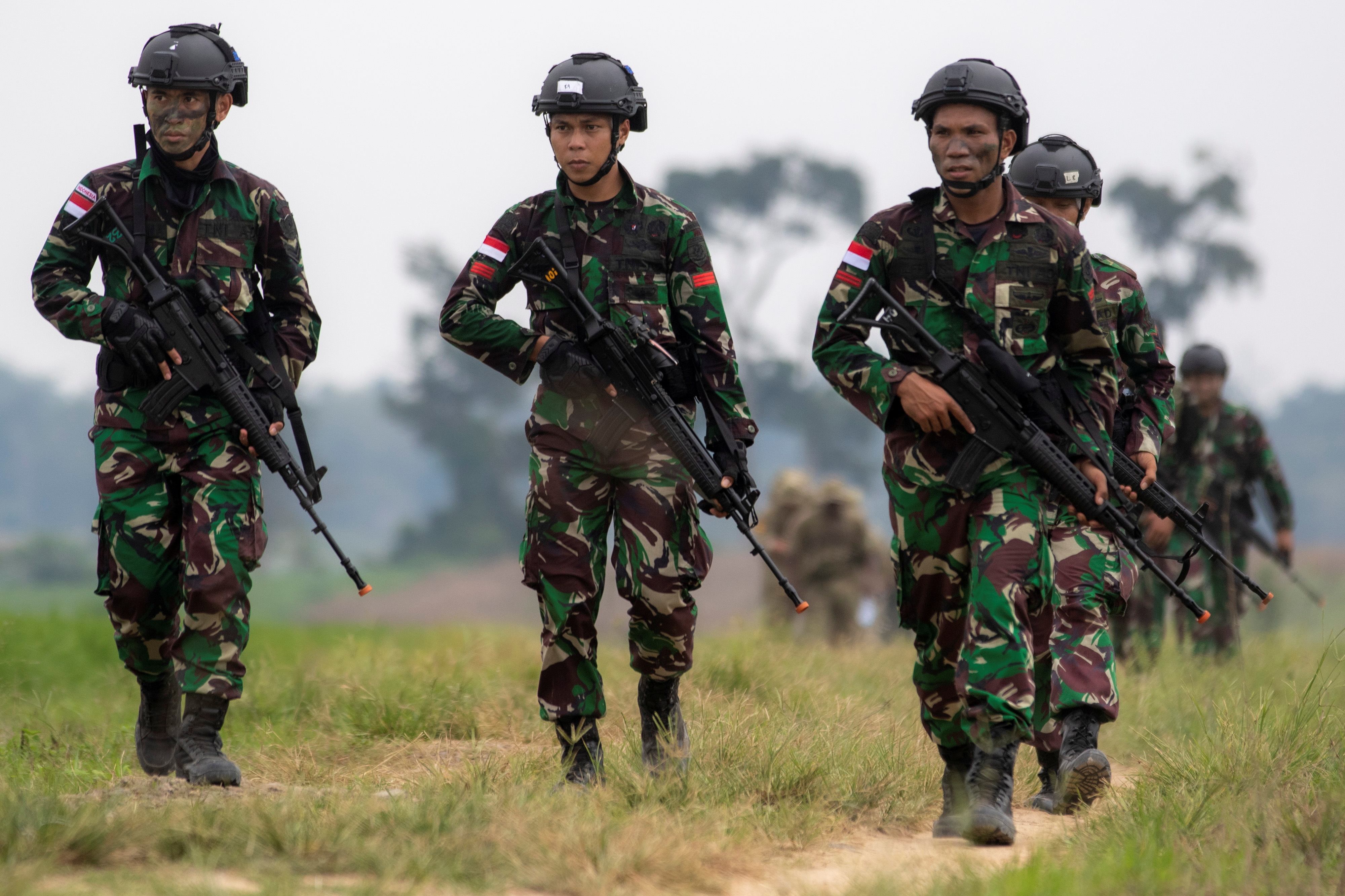 Indonesian army soldiers take part in Garuda Shield Joint Exercise 2021 at the Indonesian Army Combat Training Center in Martapura, South Sumatra province, Indonesia August 4, 2021. Antara Foto/Nova Wahyudi/via Reuters.