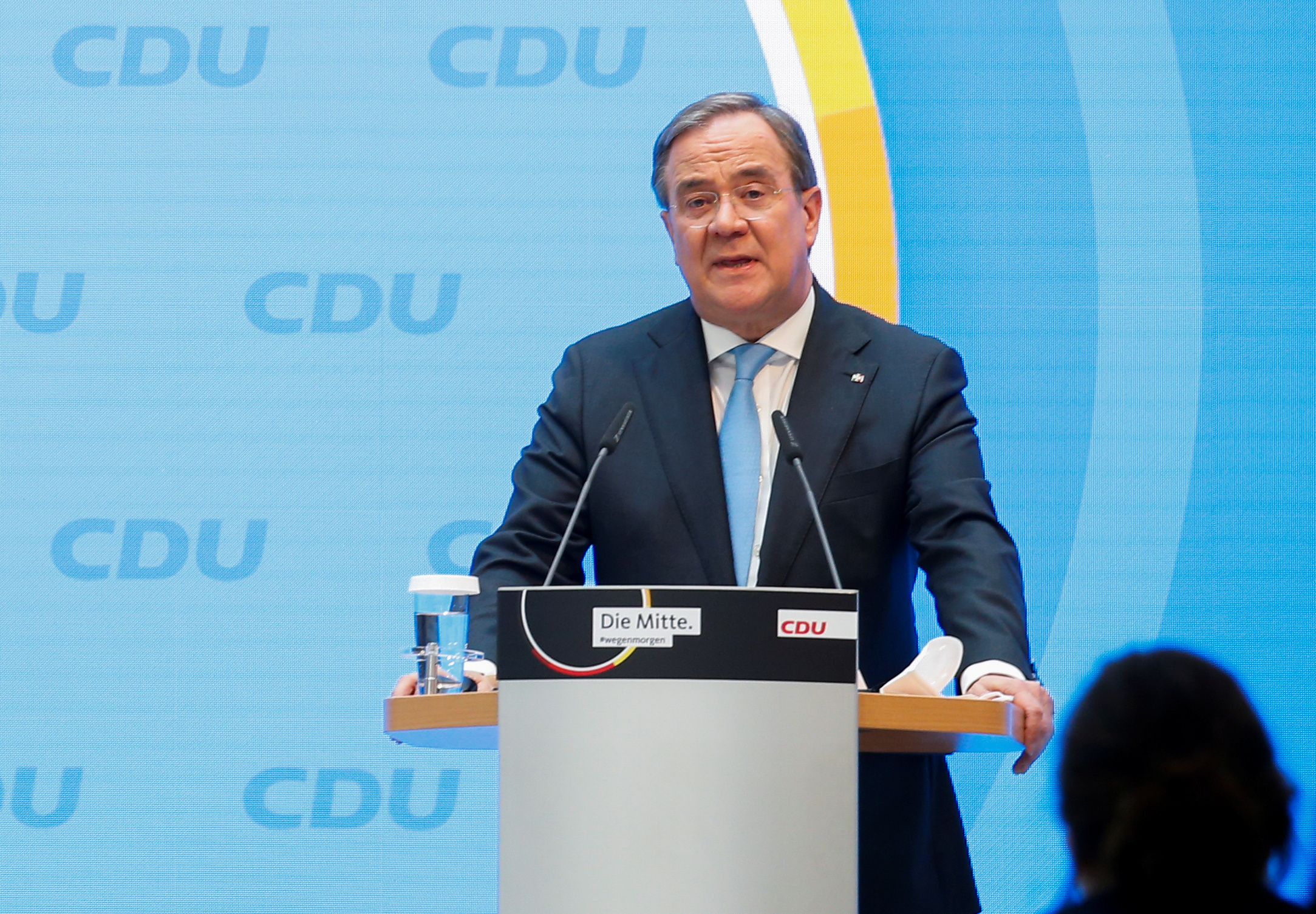 North Rhine-Westphalia's State Premier and head of Germany's conservative Christian Democratic Union (CDU) party Armin Laschet speaks at the Christian Democratic Union party (CDU) headquarters in Berlin, Germany, April 20, 2021. REUTERS/Michele Tantussi