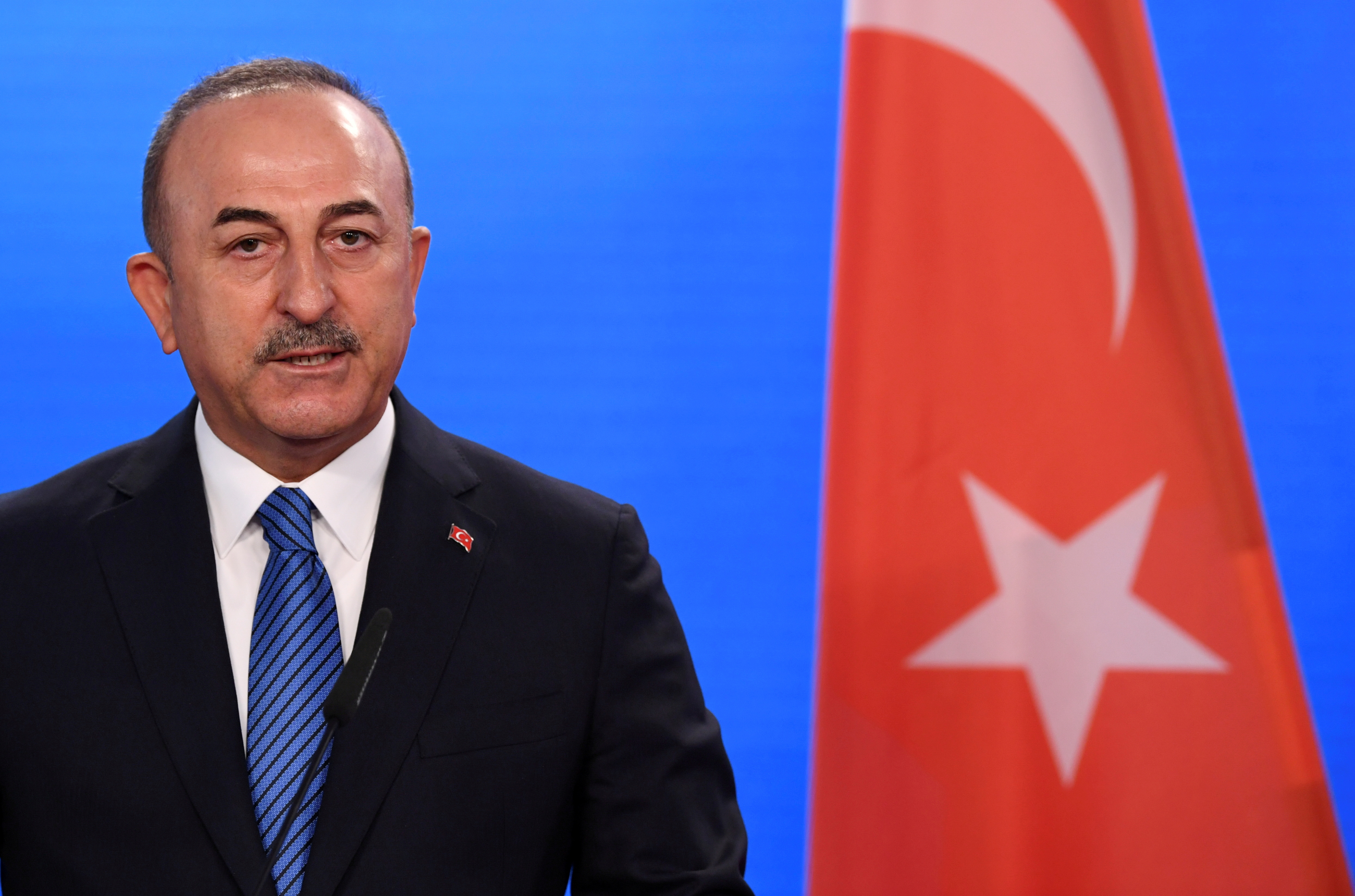 Turkish Foreign Minister Mevlut Cavusoglu gives a statement to the media after a meeting with his German counterpart in Berlin, Germany, May 6, 2021. REUTERS/Annegret Hilse/Pool