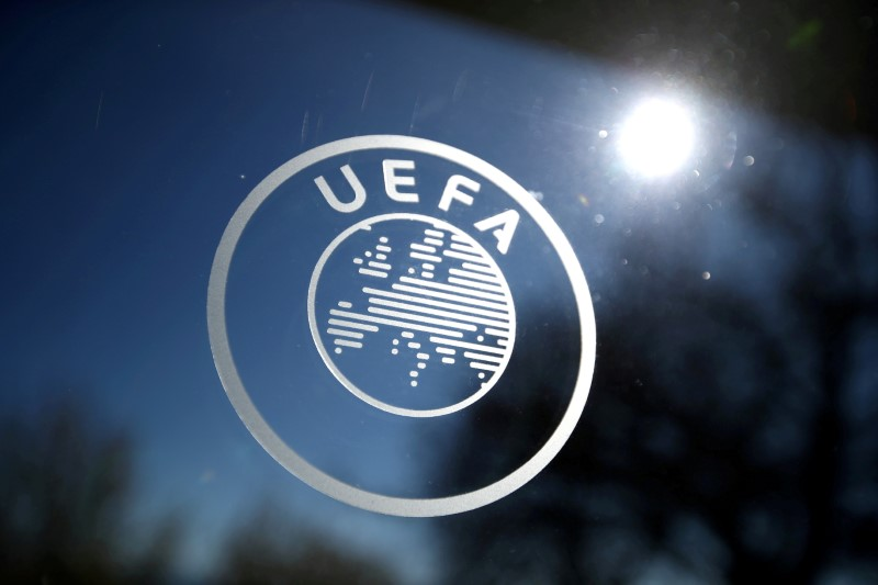 Soccer Football - Europa League - Round of 16 draw - Nyon, Switzerland - February 28, 2020   General view of the UEFA logo at UEFA Headquarters before the draw   REUTERS/Denis Balibouse