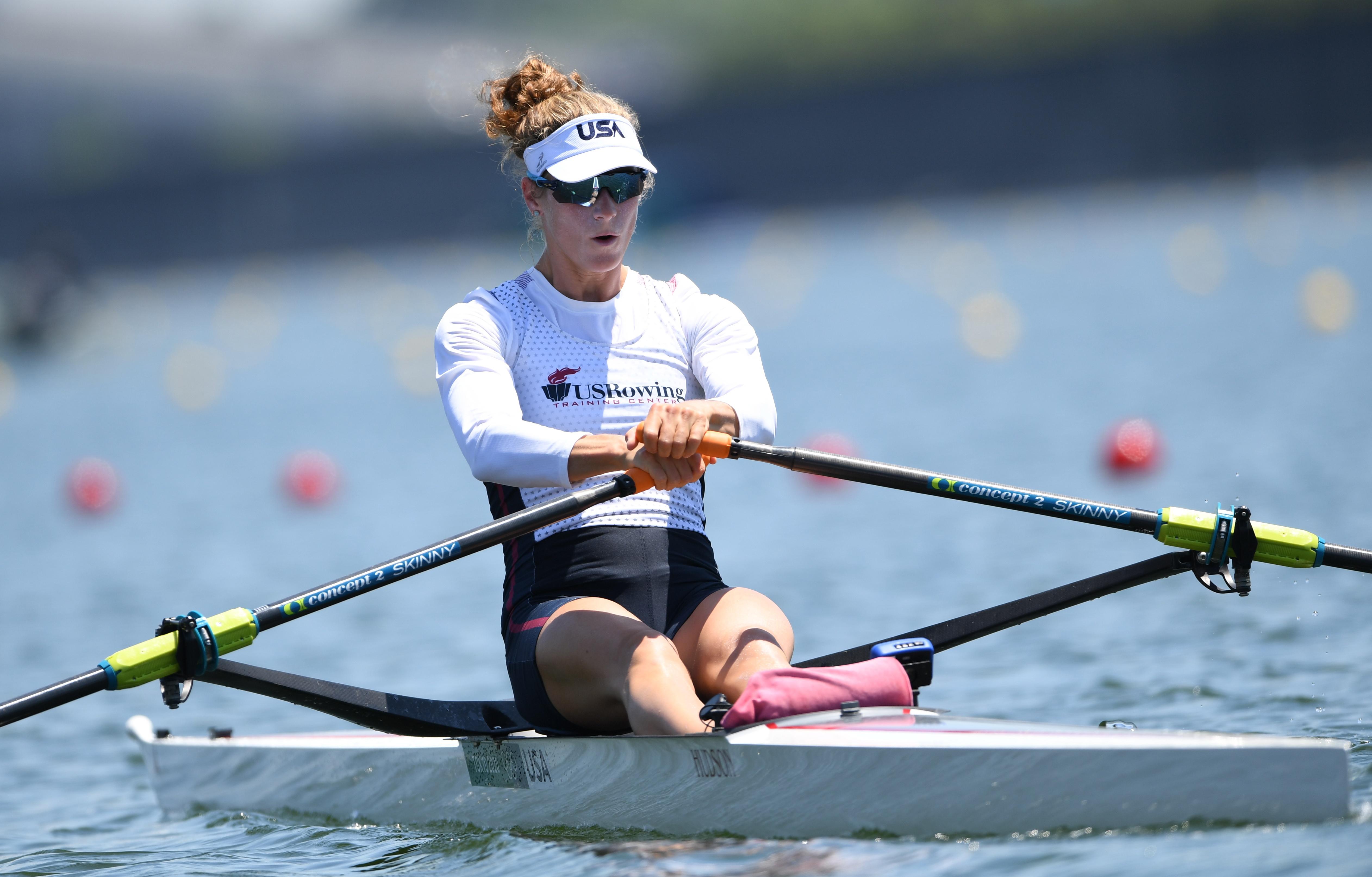 Tokyo 2020 Olympics - Rowing Training - Sea Forest Waterway, Tokyo, Japan - July 22, 2021 Kara Kohler of the United States during training REUTERS/Piroschka Van De Wouw