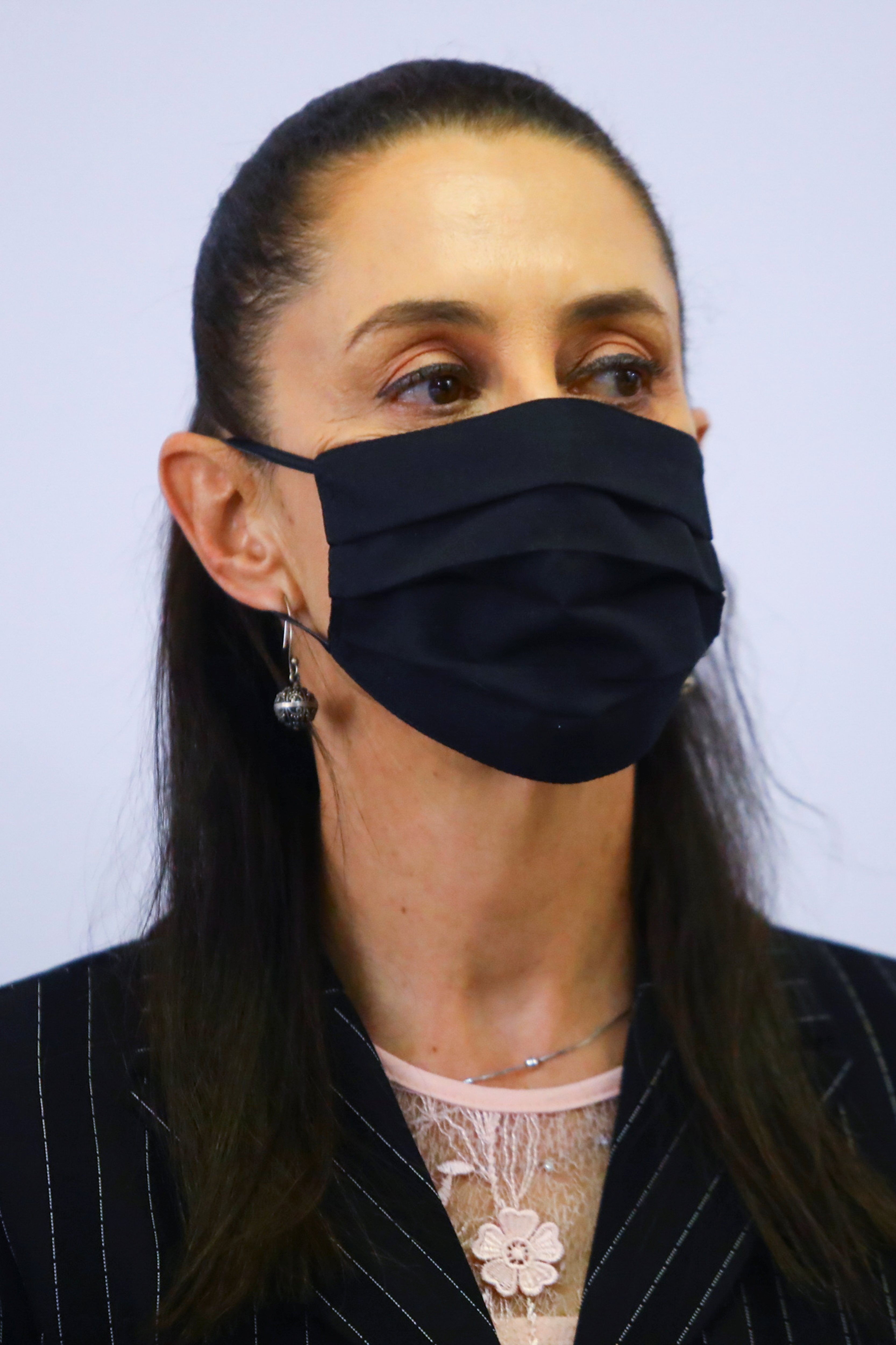 Mexico City's mayor Claudia Sheinbaum is pictured during an event to deliver a preliminary report on the deadly metro overpass collapse at the Secretariat for Comprehensive Risk Management and Civil Protection headquarters in Mexico City, Mexico June 16, 2021. REUTERS/Edgard Garrido