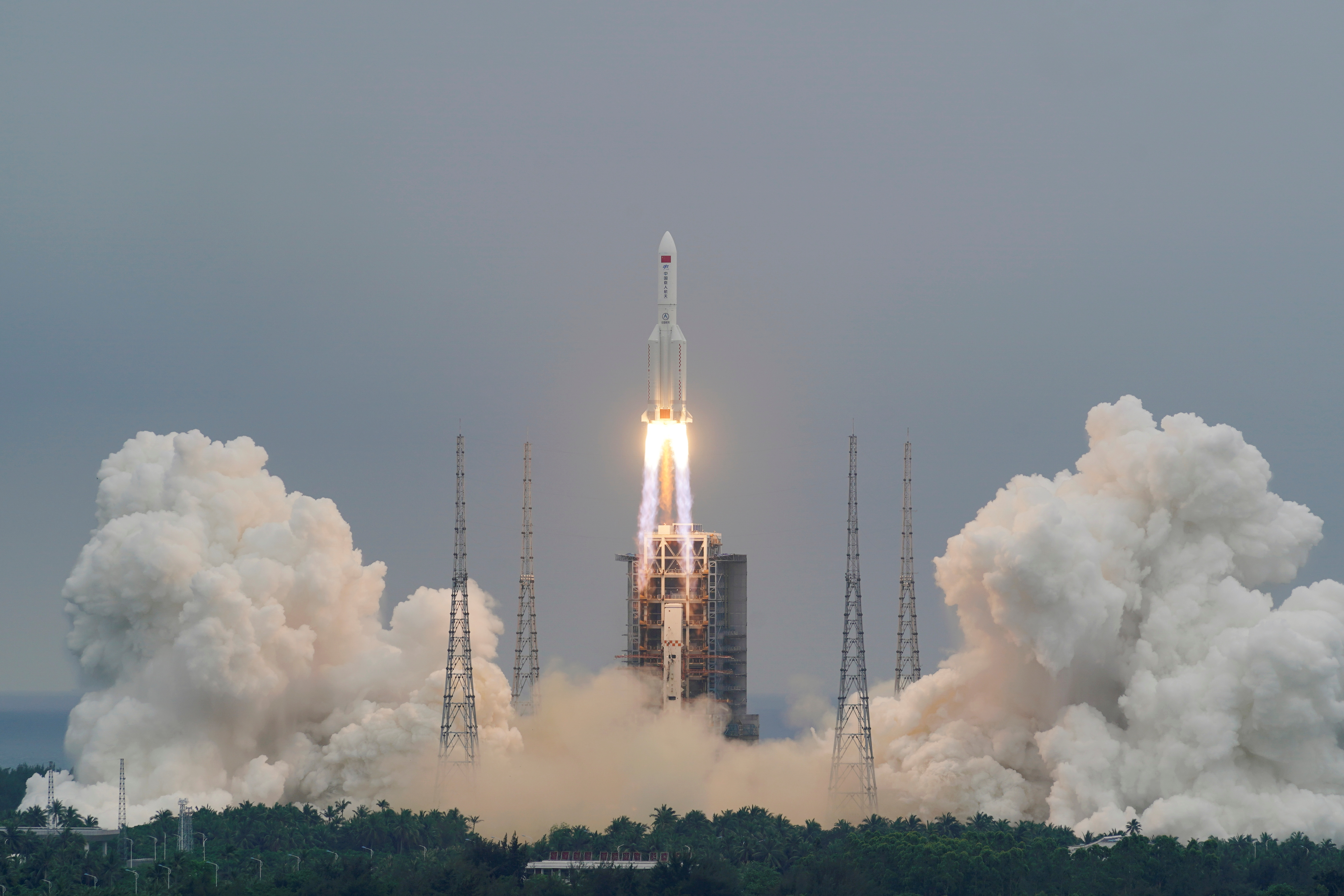 The Long March-5B Y2 rocket, carrying the core module of China's space station Tianhe, takes off from Wenchang Space Launch Center in Hainan province, China April 29, 2021. China Daily via REUTERS  ATTENTION EDITORS - THIS IMAGE WAS PROVIDED BY A THIRD PARTY. CHINA OUT./File Photo