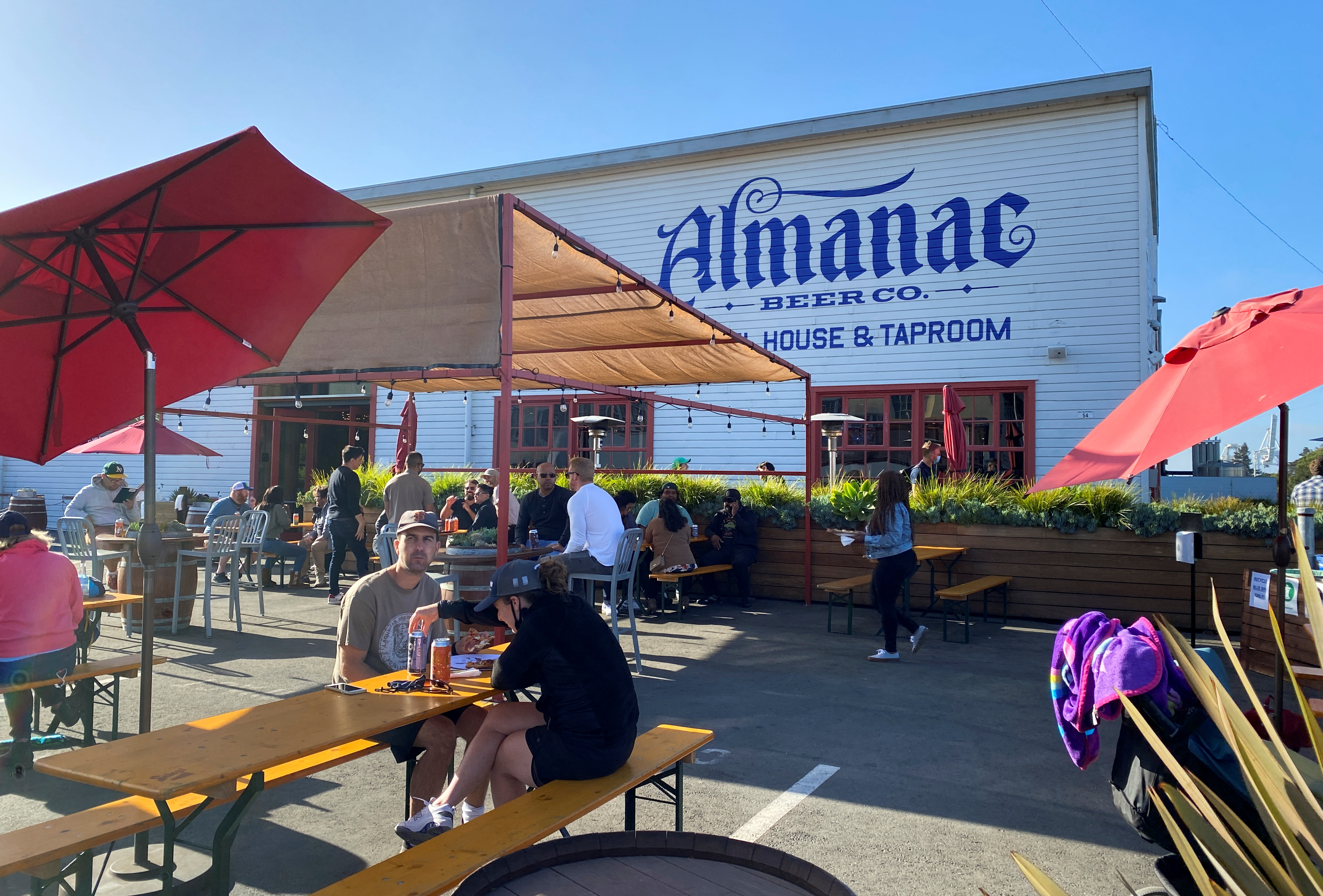 Customers drink, eat and talk at well-spaced tables on Almanac Taproom's former-parking lot-turned-pandemic-beer-garden in Alameda, California, U.S. June 4, 2021. REUTERS/Ann Saphir