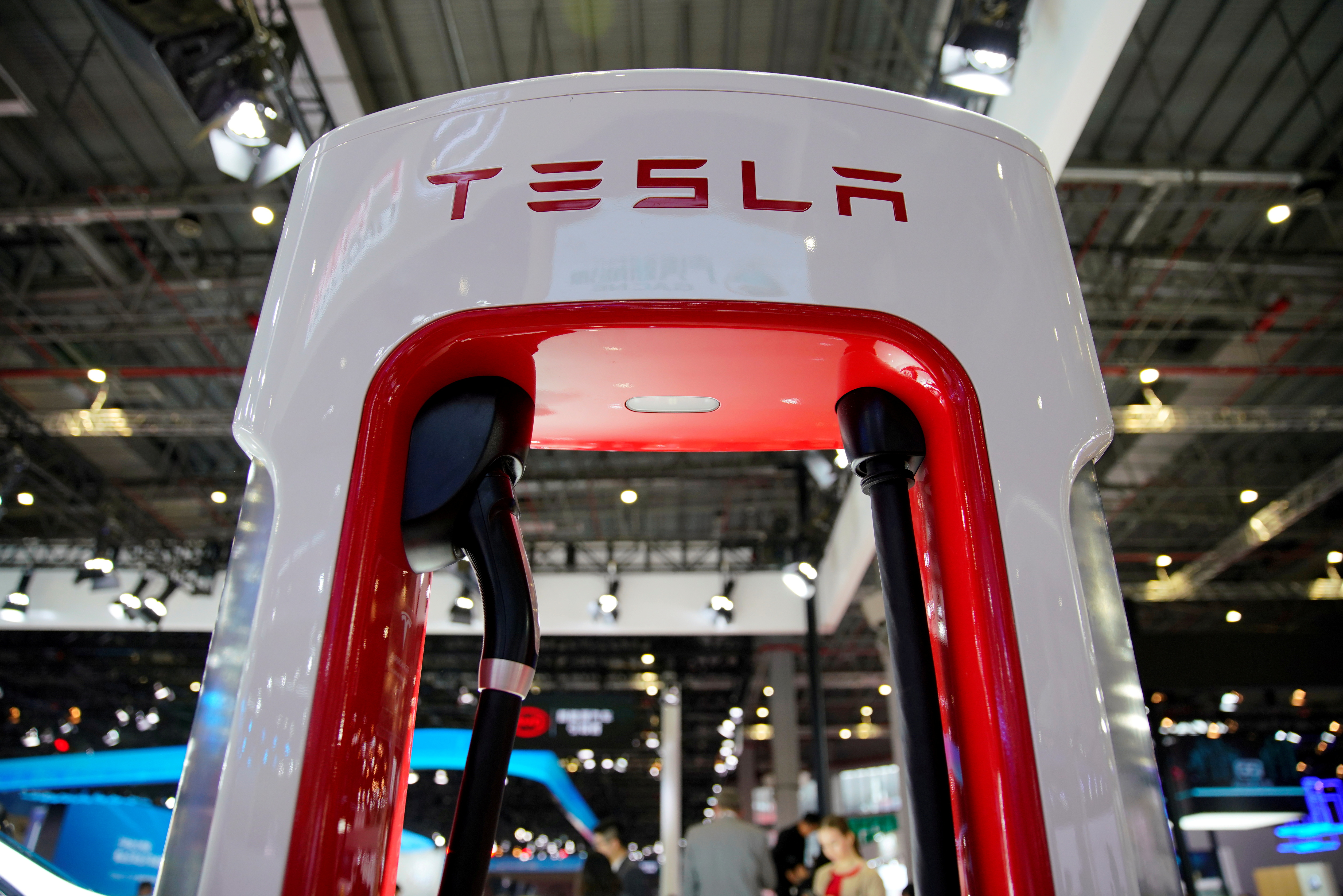 A Tesla charging station is pictured during the media day for the Shanghai auto show in Shanghai, China April 16, 2019. REUTERS/Aly Song/File Photo