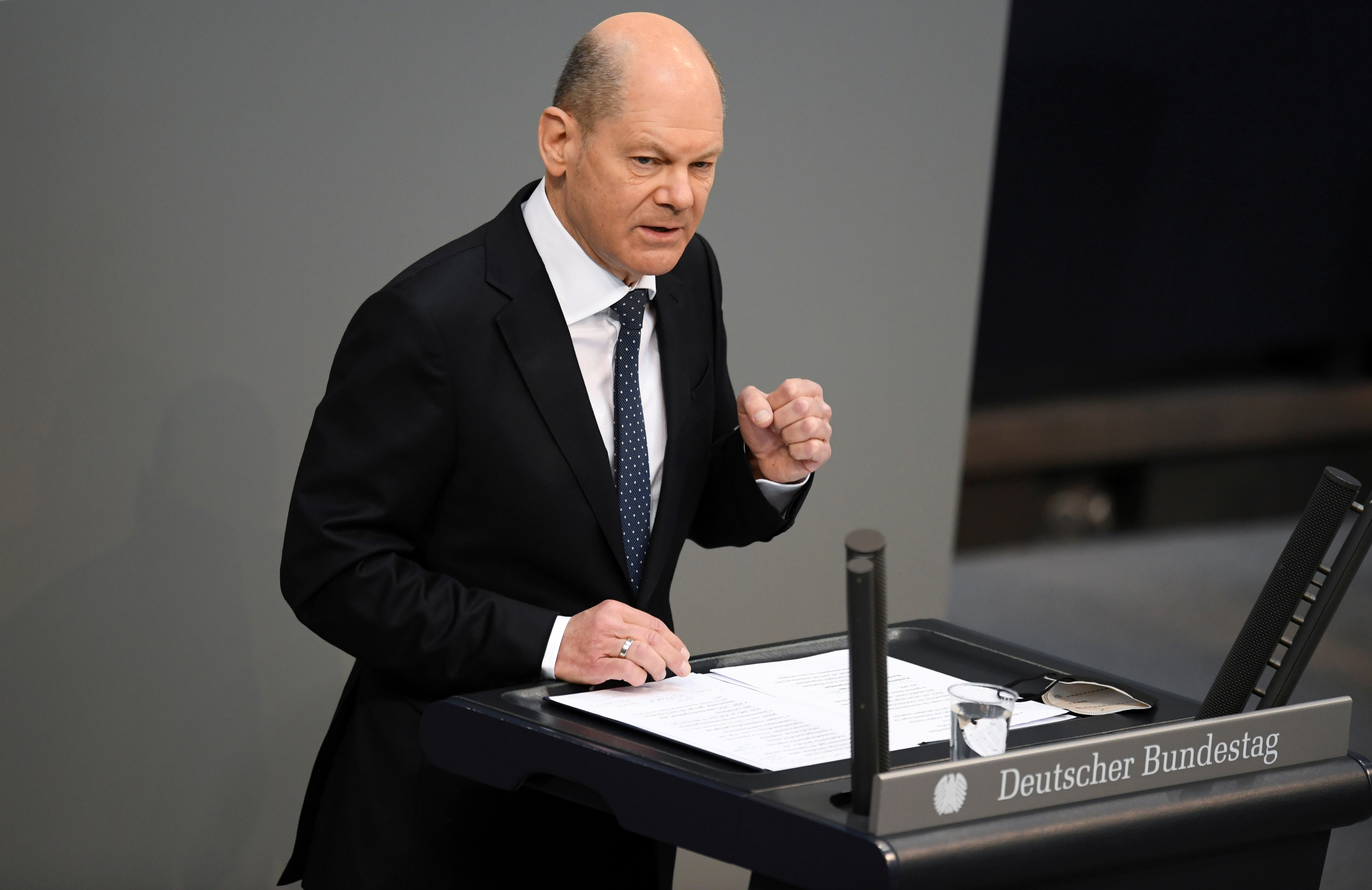 German Finance Minister Olaf Scholz speaks during a session of the lower house of parliament Bundestag in Berlin, Germany, April 15, 2021. REUTERS/Annegret Hilse