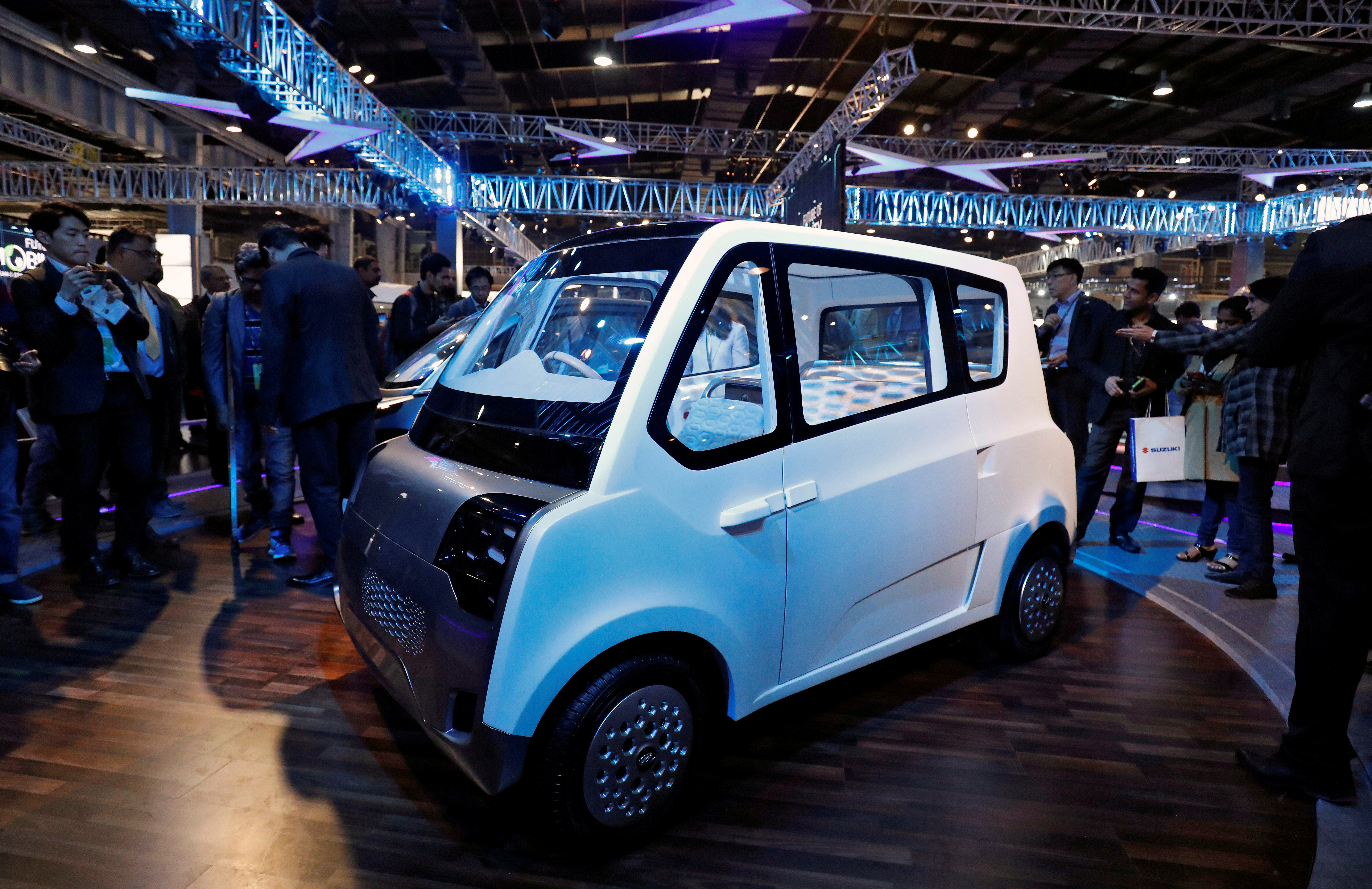 Mahindra showcases its new electric vehicle, ATOM, at the India Auto Show in Greater Noida, India, February 7, 2018. REUTERS/Saumya Khandelwal/File Photo