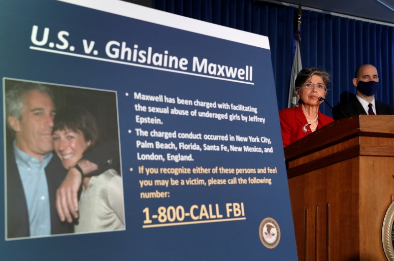 Audrey Strauss, acting U.S. attorney for the Southern District of New York, speaks alongside William F. Sweeney Jr., assistant director-in-charge of the New York Office, at a news conference announcing charges against Ghislaine Maxwell for her alleged role in the sexual exploitation and abuse of minor girls by Jeffrey Epstein in New York City, New York, U.S., July 2, 2020. REUTERS/Lucas Jackson/File Photo