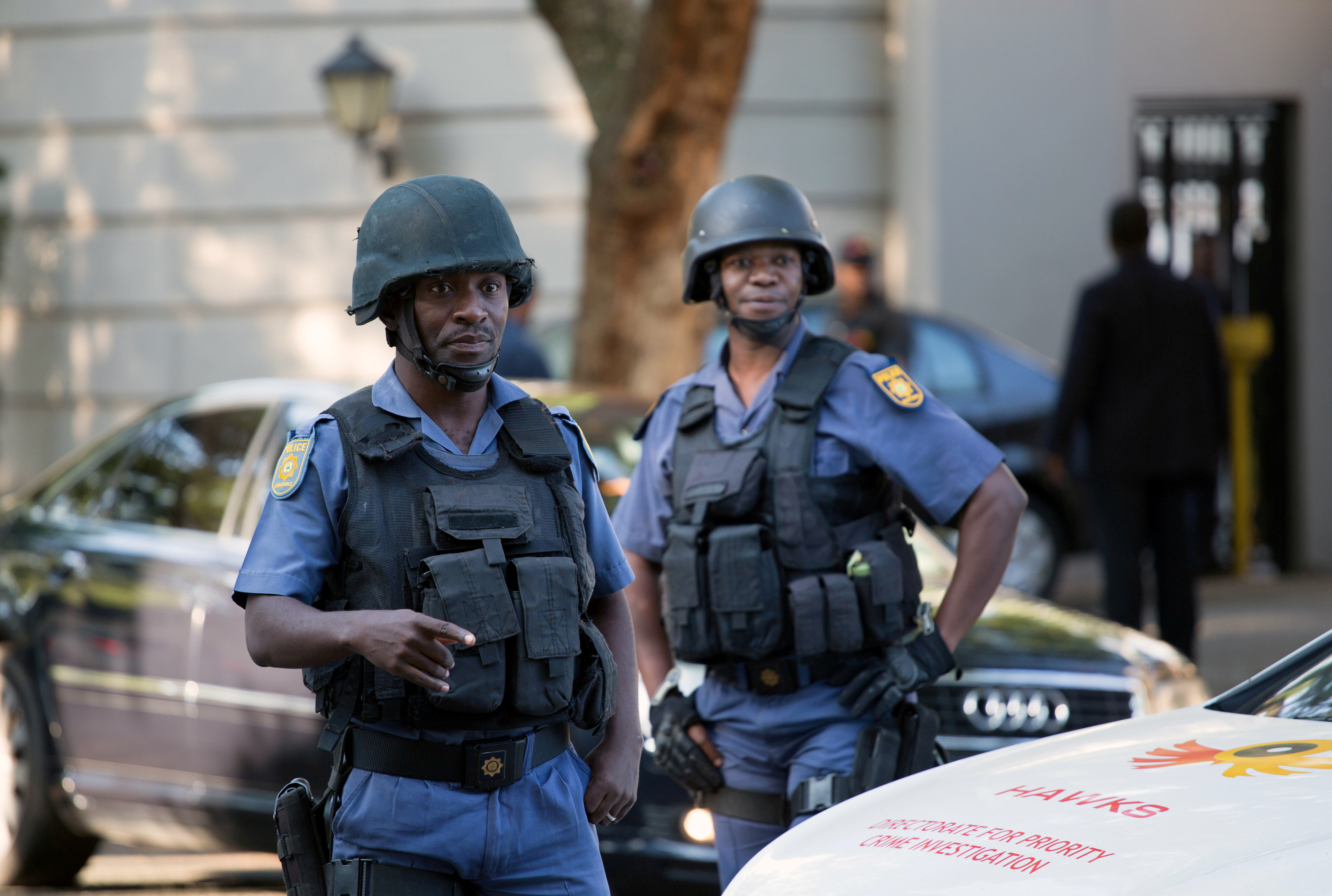 Police close off roads around the home of the Gupta family in Johannesburg, South Africa, February 14, 2018. REUTERS/James Oatway/File Photo