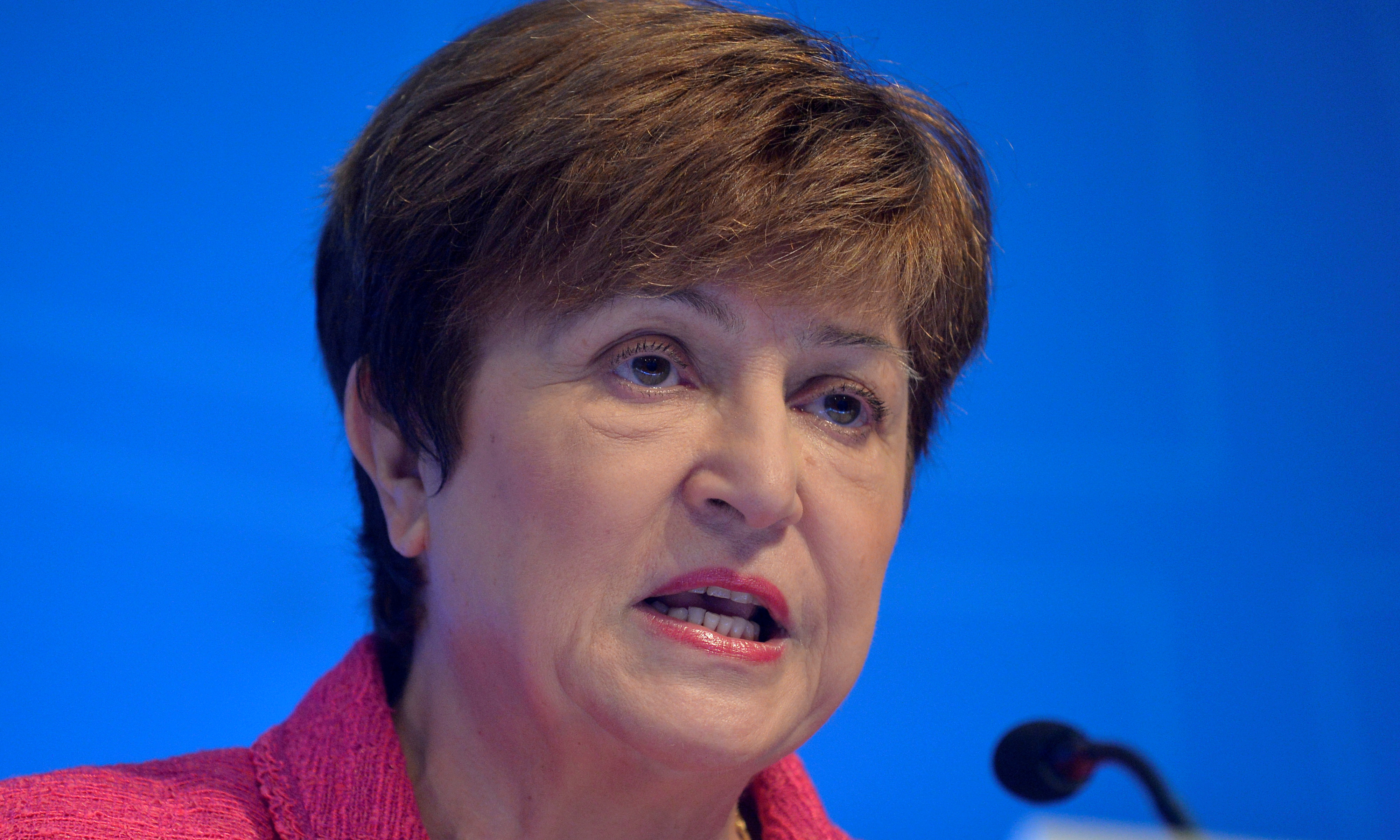 International Monetary Fund (IMF) Managing Director Kristalina Georgieva makes remarks at an opening news conference during the IMF and World Bank's 2019 Annual Fall Meetings of finance ministers and bank governors, in Washington, U.S., October 17, 2019.   REUTERS/Mike Theiler/File Photo