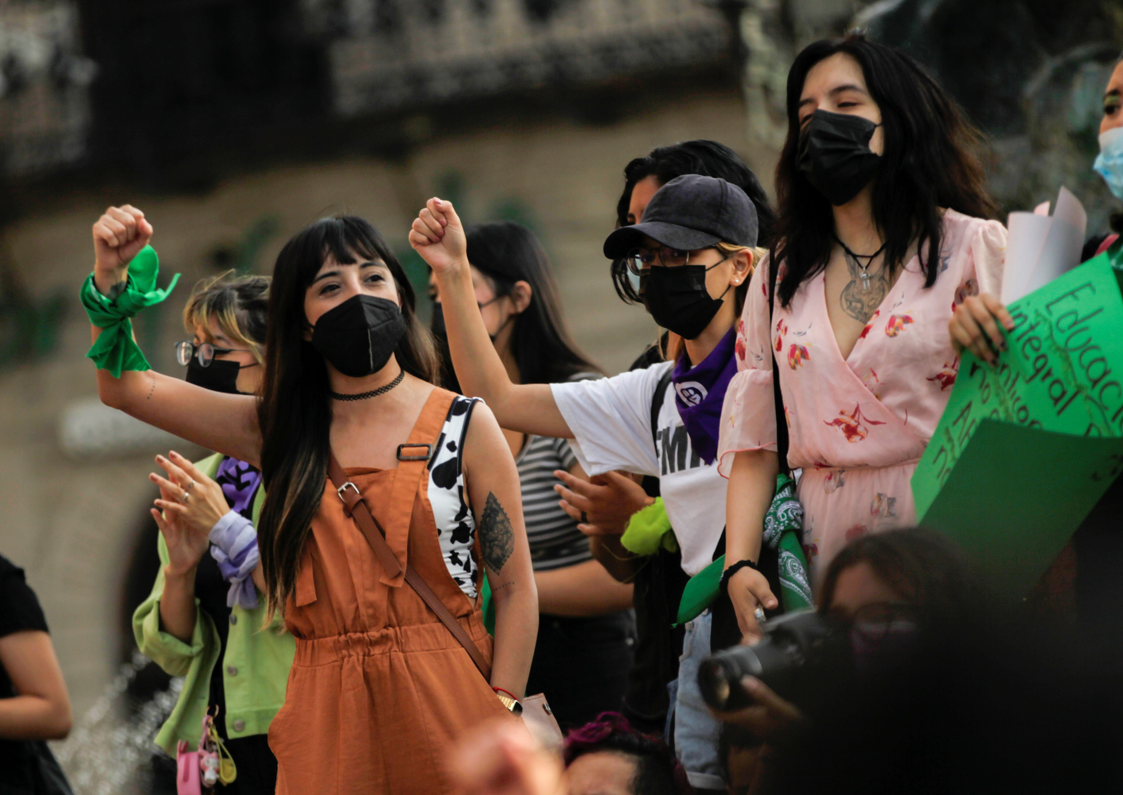 Women take part in a protest to celebrate the decision of the Supreme Court of Justice of the Nation (SCJN) that declared the criminalization of abortion as unconstitutional, in Saltillo, Mexico September 7, 2021. REUTERS/Daniel Becerril